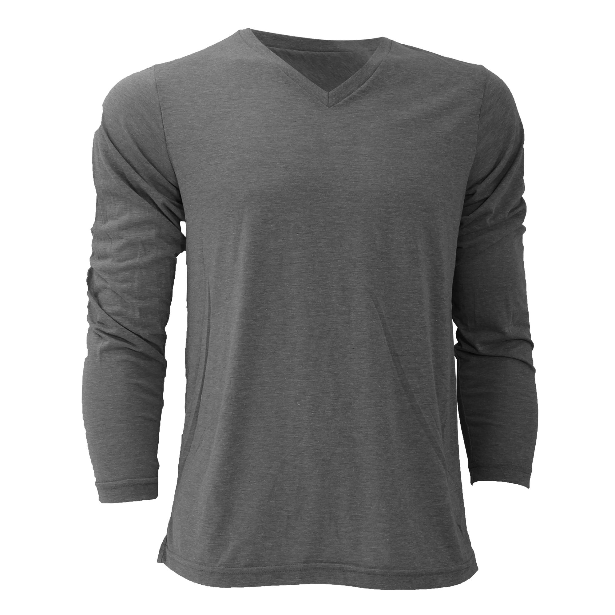 Canvas mens triblend long sleeve v neck t shirt for Long sleeve v neck t shirt mens