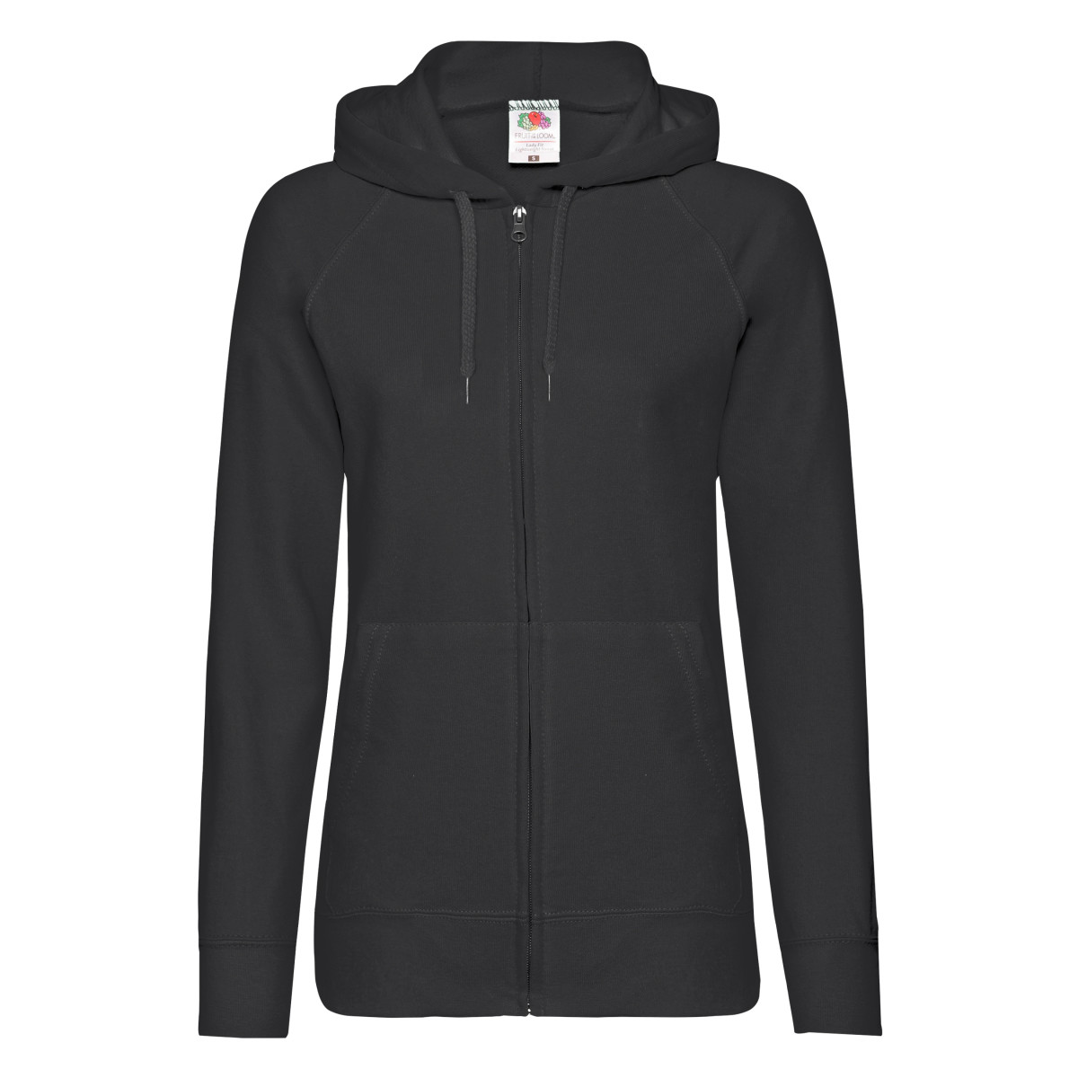 fruit of the loom ladies fitted lightweight hooded sweatshirts jacket zoodie ebay. Black Bedroom Furniture Sets. Home Design Ideas