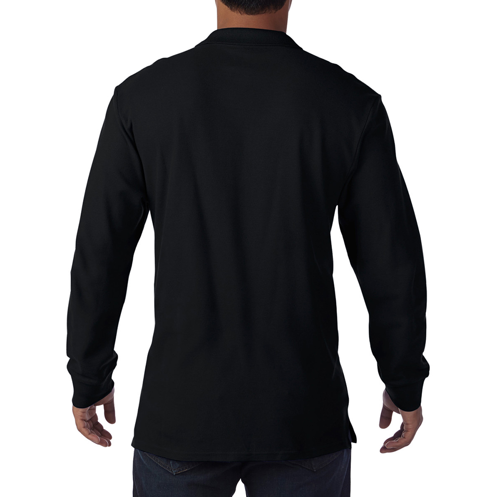 Gildan mens long sleeve double pique cotton polo shirt ebay for Longer length mens polo shirts