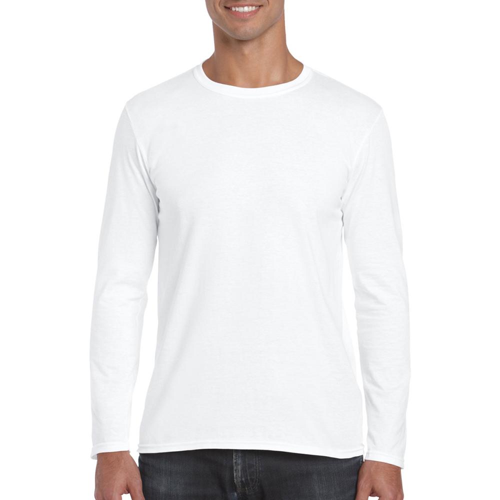 Gildan mens soft style long sleeve t shirt ebay for Long t shirt trend