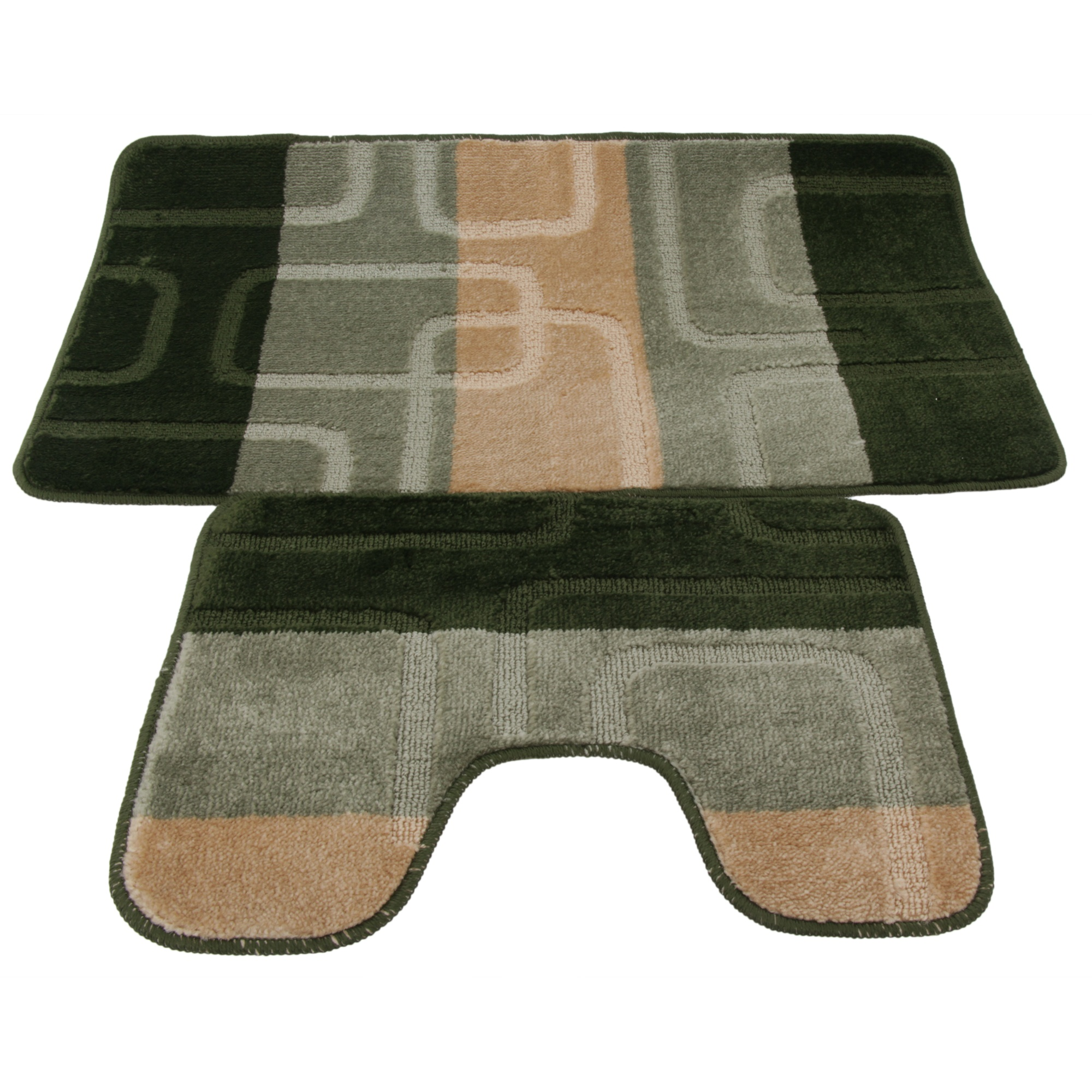 2 Piece Square Design Bath Mat And Pedestal Mat Set 5 Options Ebay