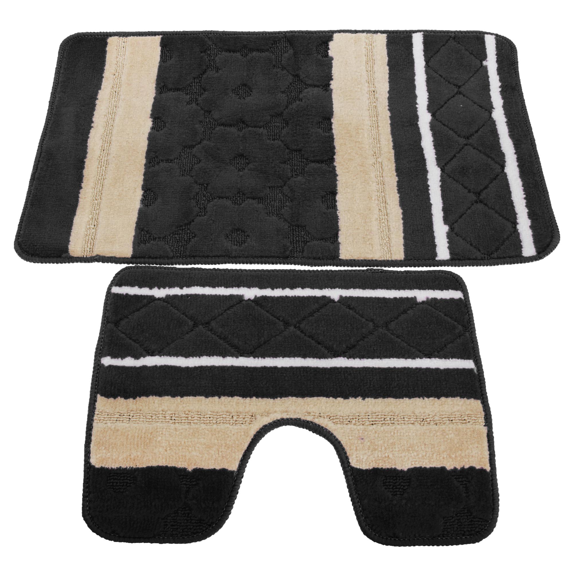 2 piece striped bath mat rug pedestal mat set ebay