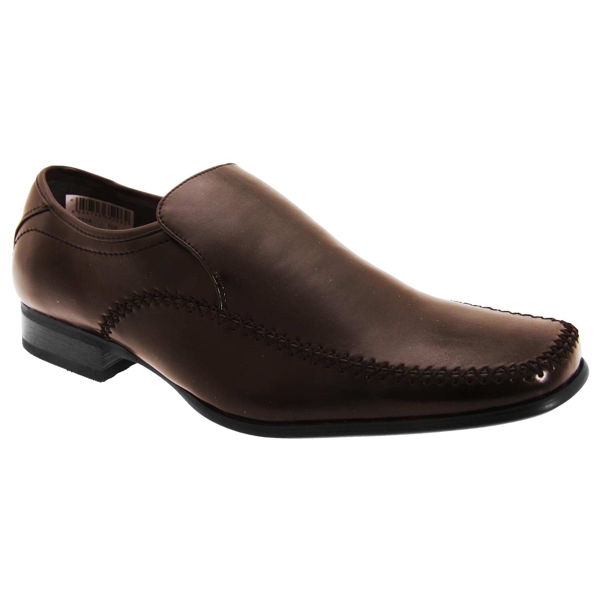 goor mens leather slip on gusset tab formal dress loafer