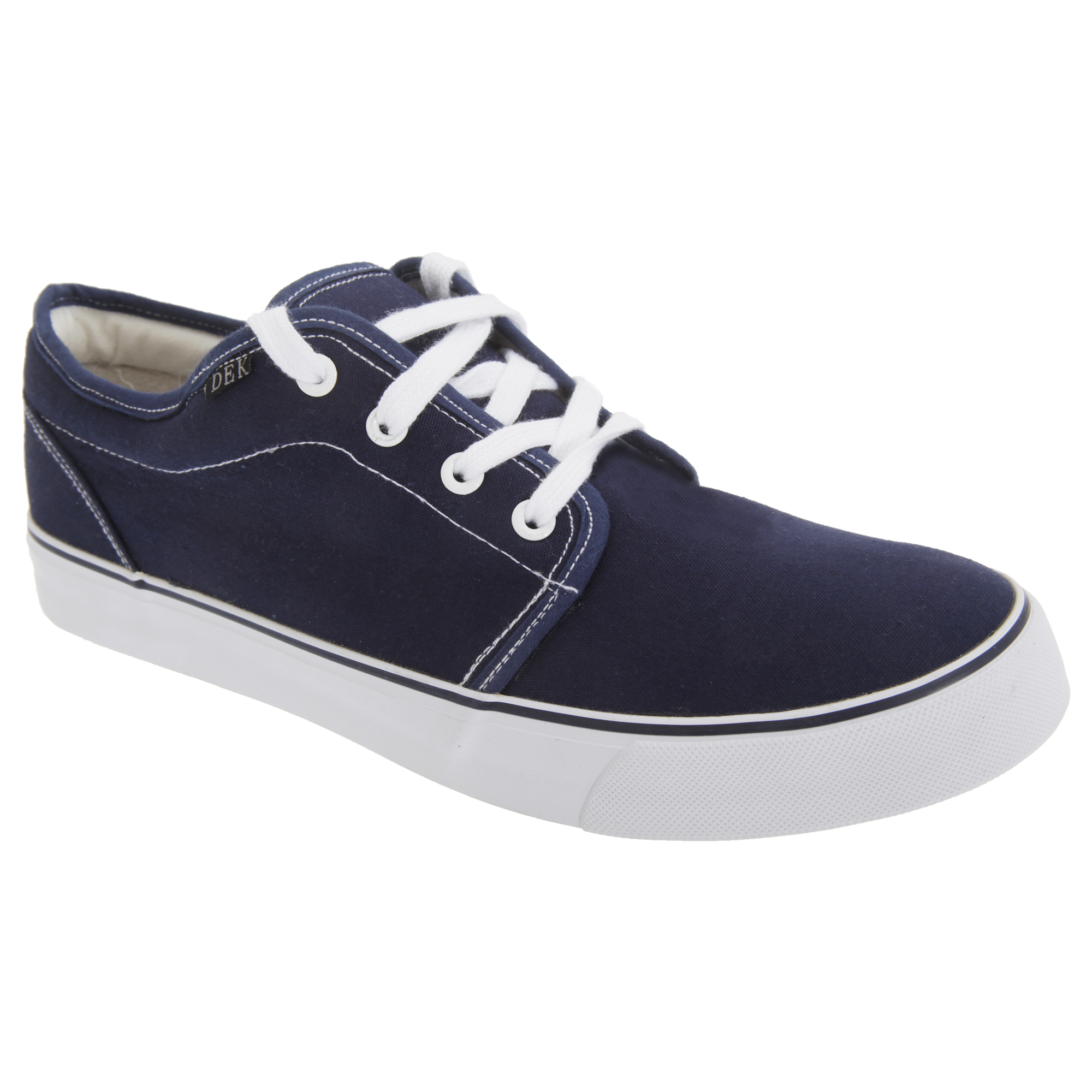 dek mens 4 eye padded canvas deck shoes navy blue