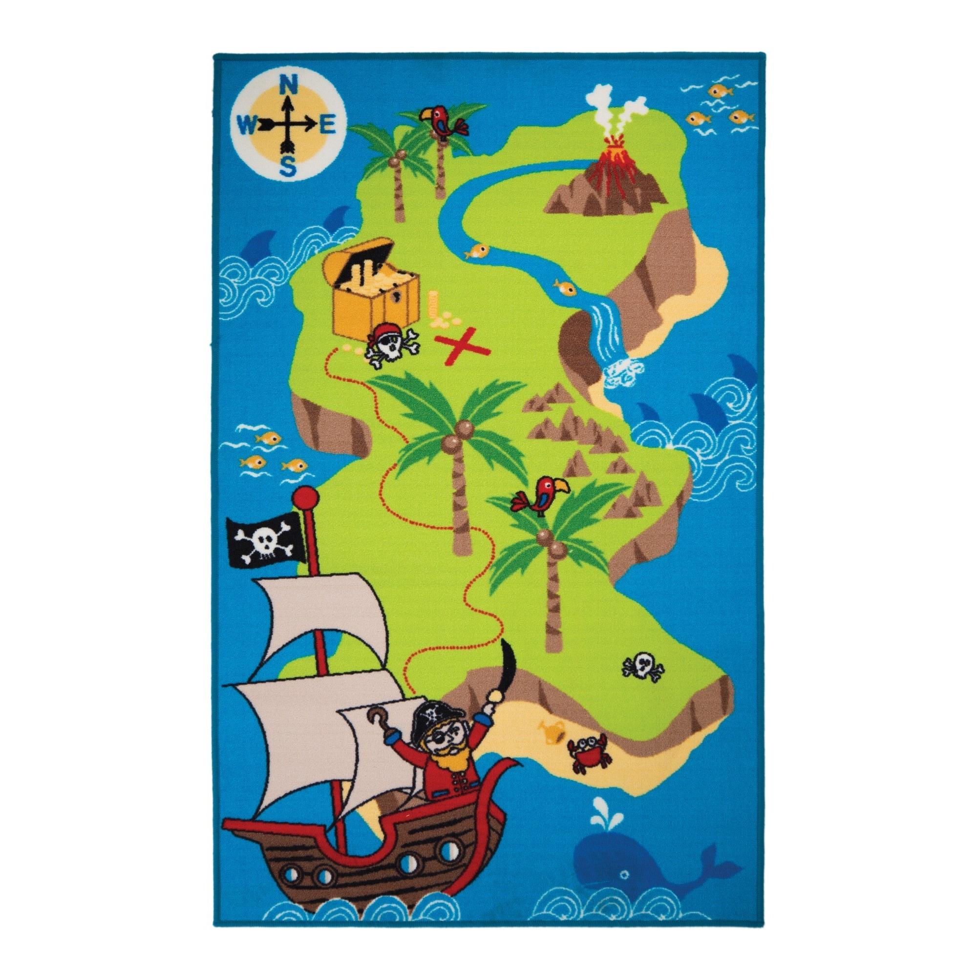 Flair rugs alfombra con dise o de mapa pirata del tesoro - Alfombras infantiles para jugar ...