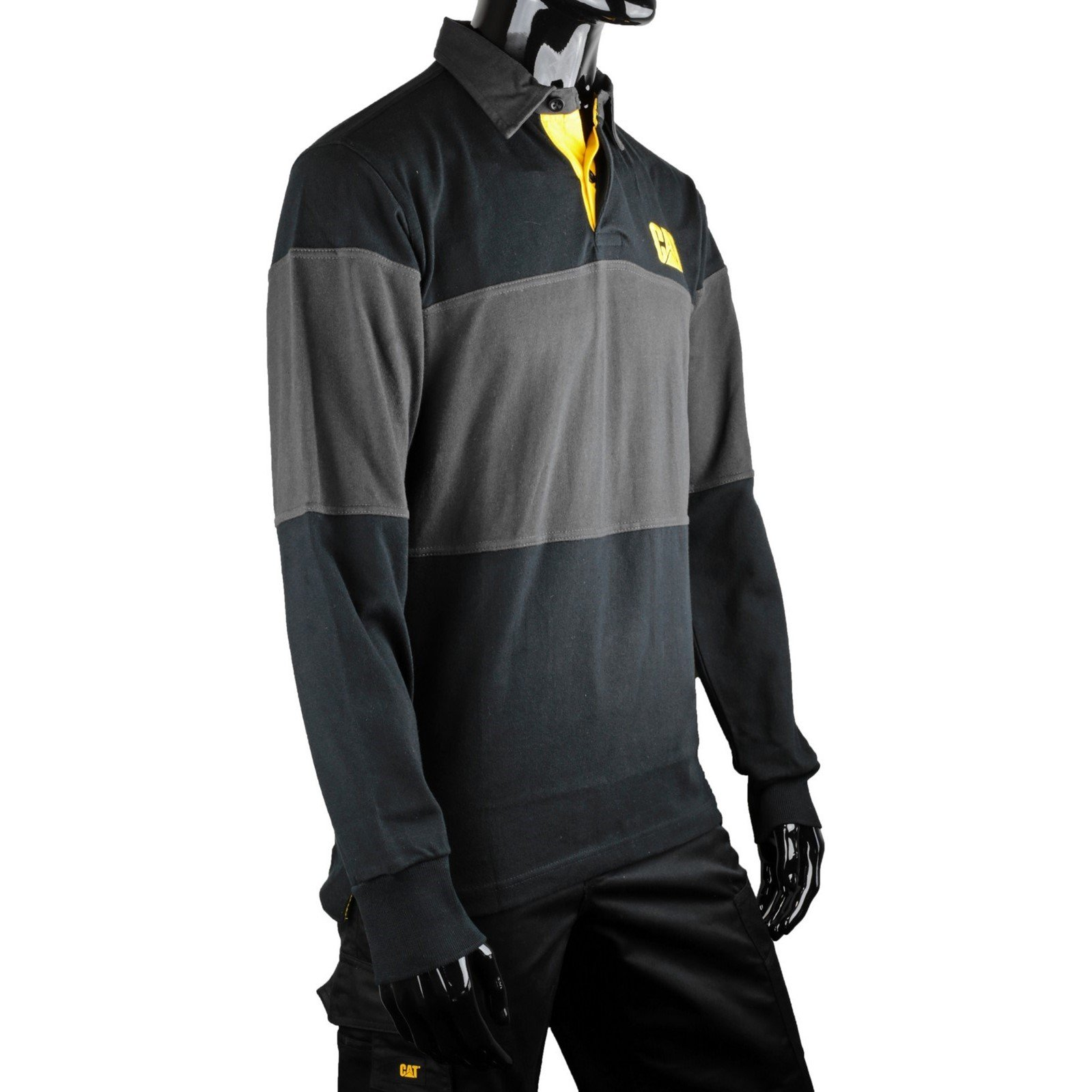 Caterpillar c1620530 mens striped rugby shirt with long for Long sleeve striped rugby shirt