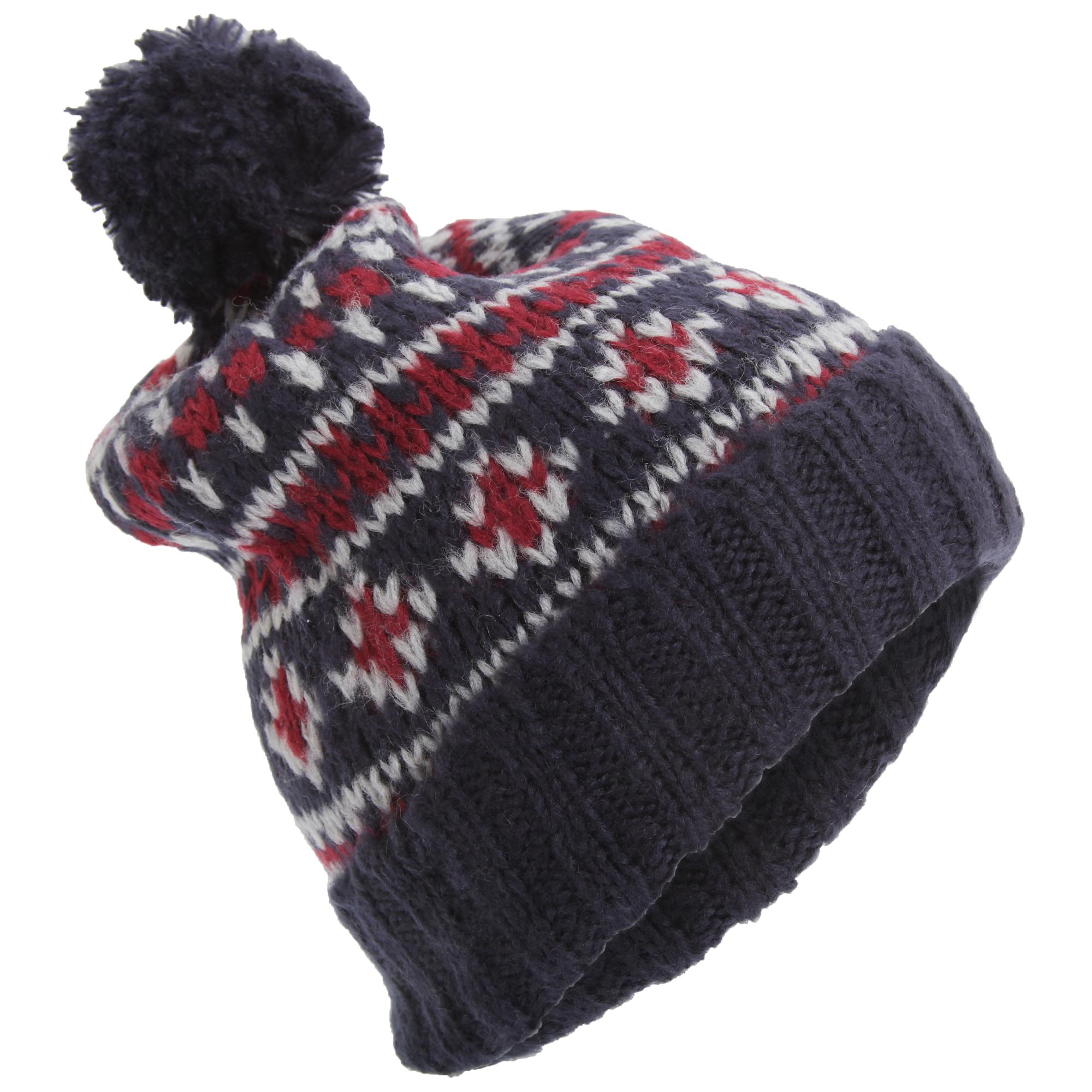 Mens Soft Brushed Fairisle Pattern Warm Winter Bobble Hat ...