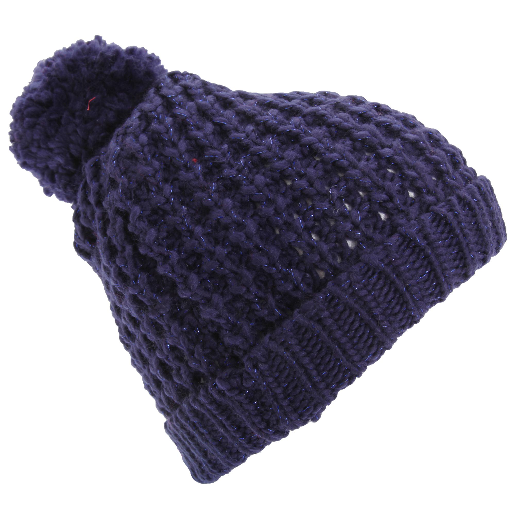 womens shimmer winter beanie bobble hat