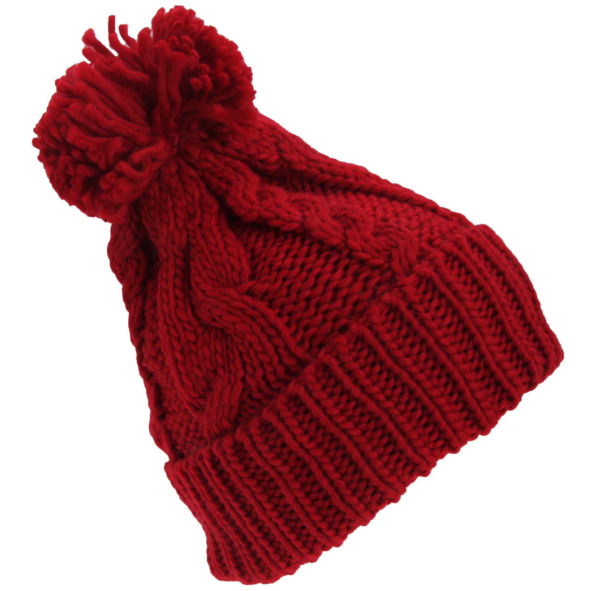 womens heavyweight cable knit winter hat with pom pom ebay