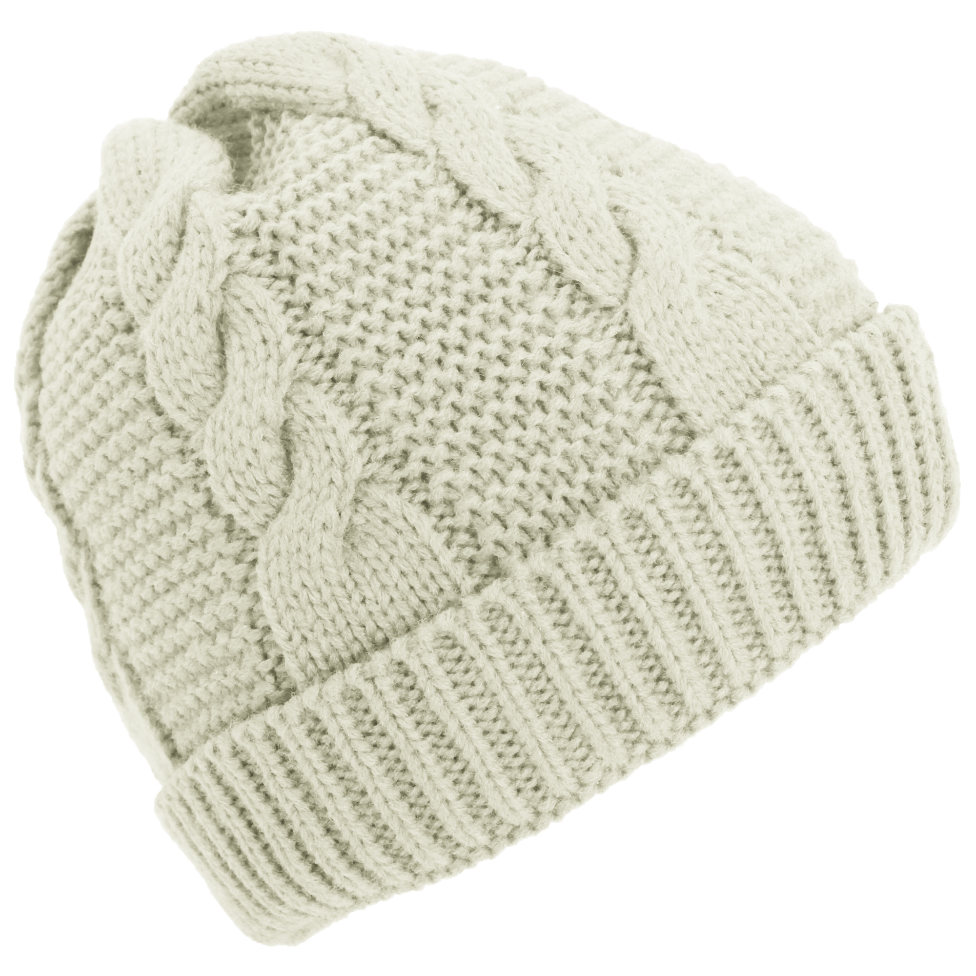 womens cable knit fleece lined winter beanie hat ebay