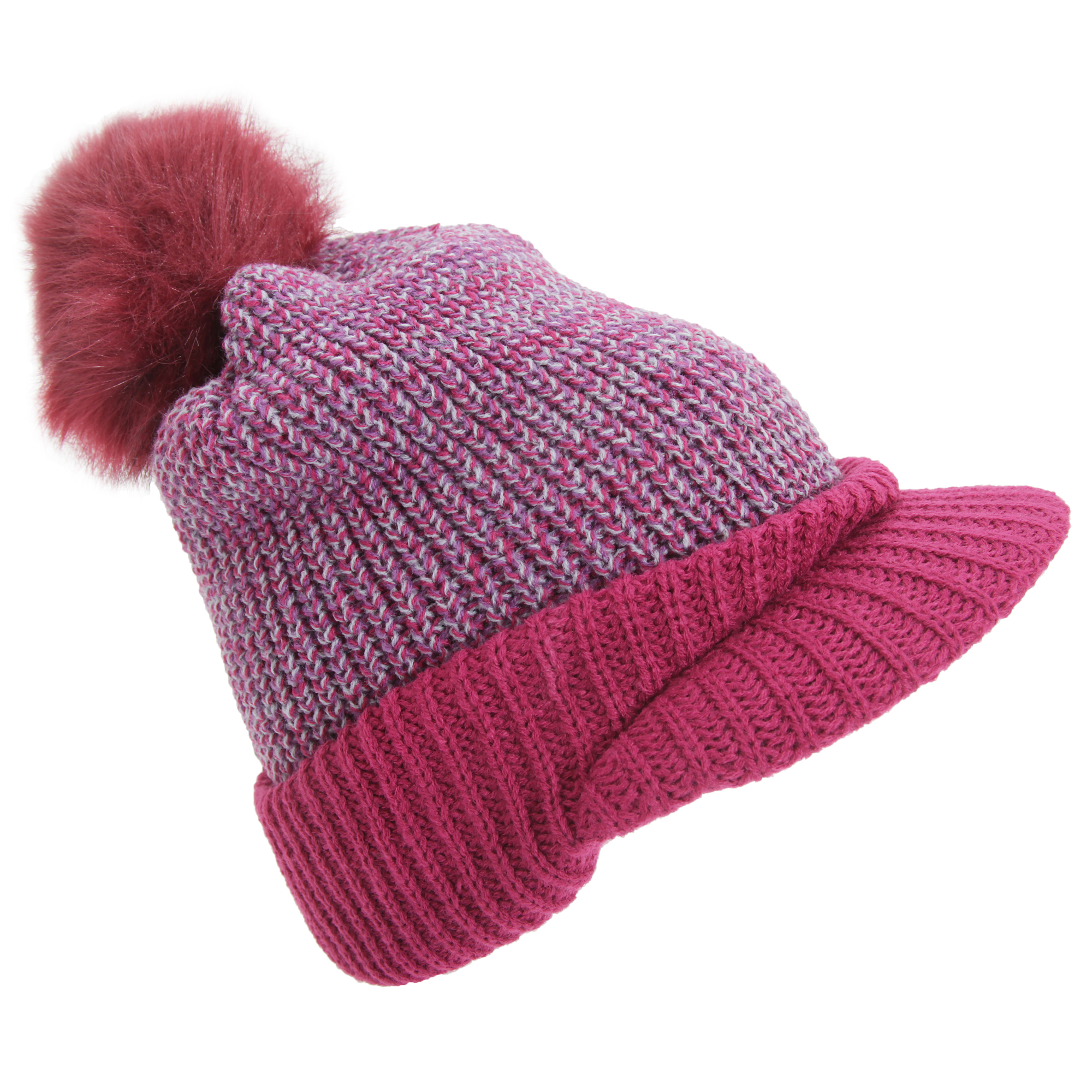womens rockjock knitted peak hat with faux fur pom