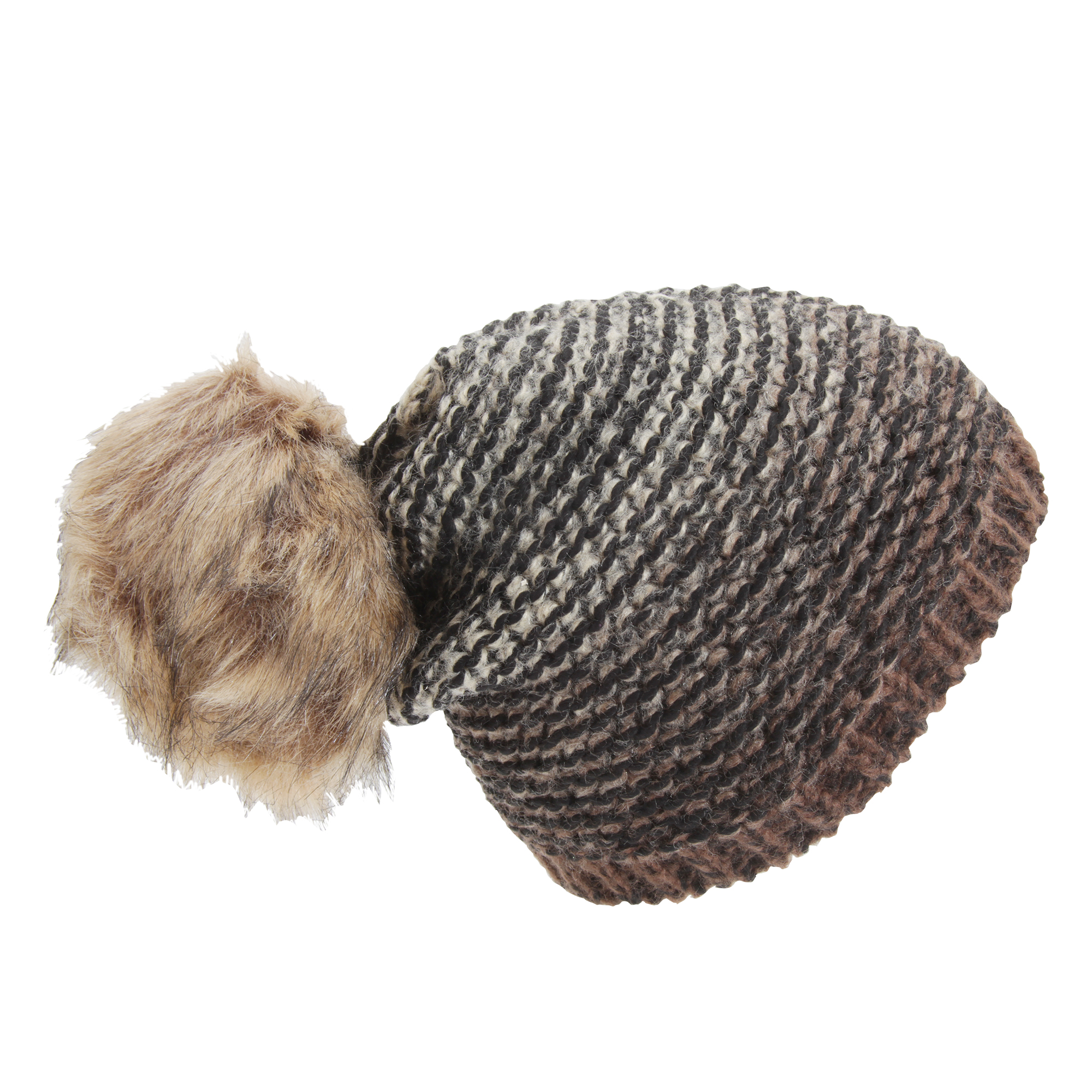 womens ombre knit winter beanie hat with faux fur