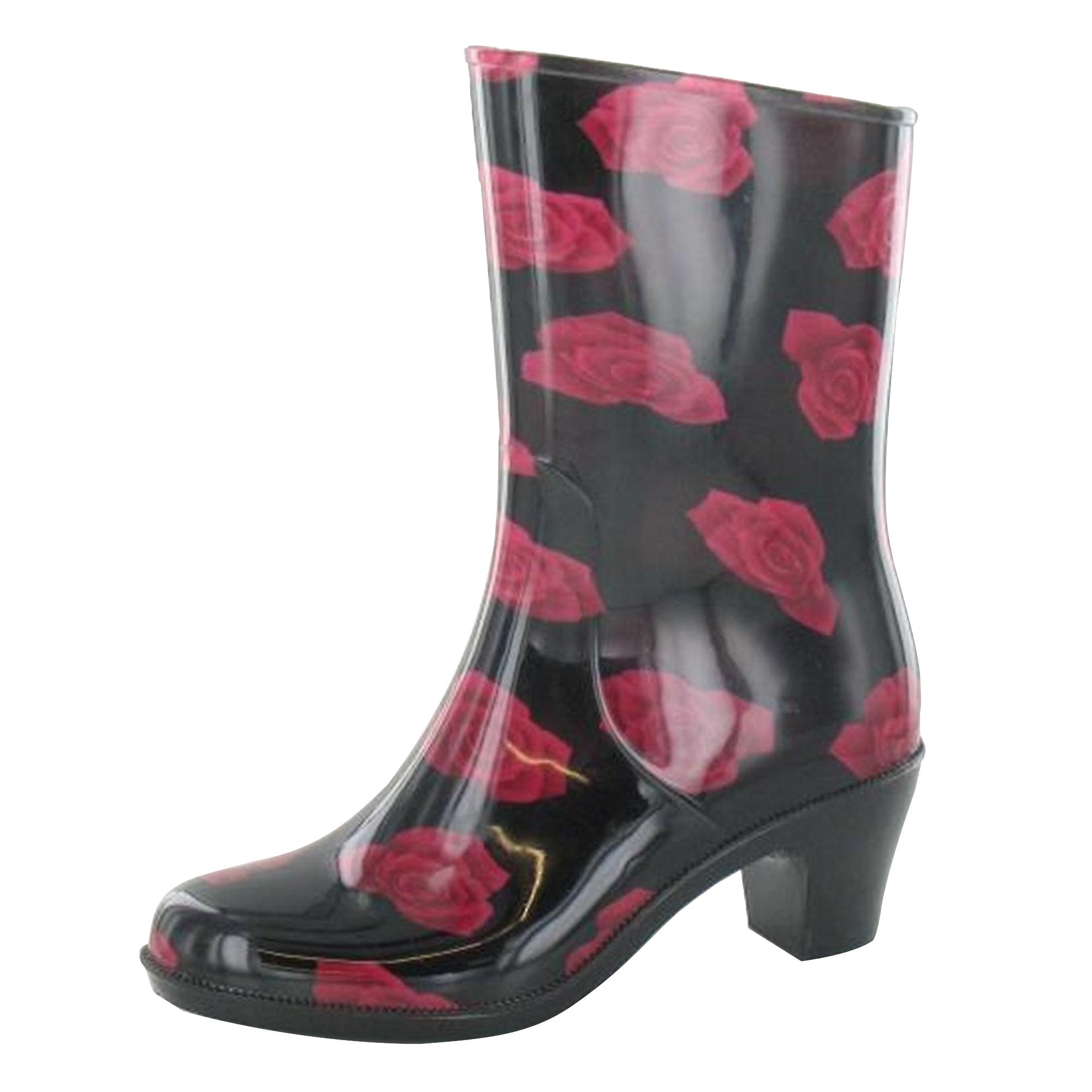 Spot-On-Stivali-con-tacco-e-fantasia-di-rose-Donna