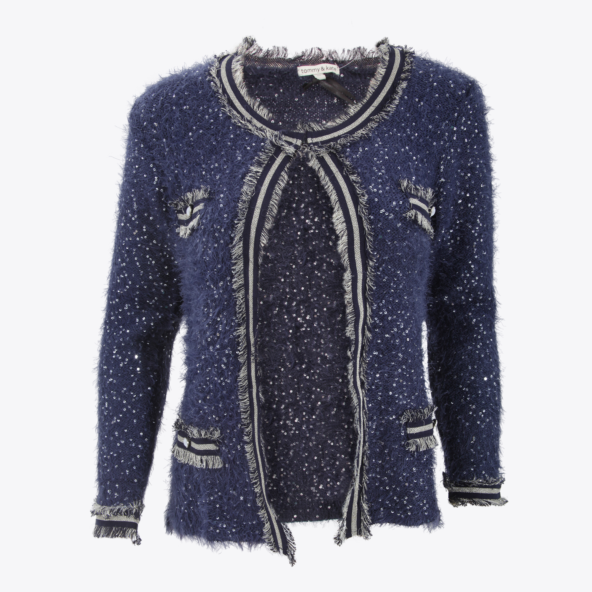 Long Gold Sequin Cardigan - Full Zip Sweater