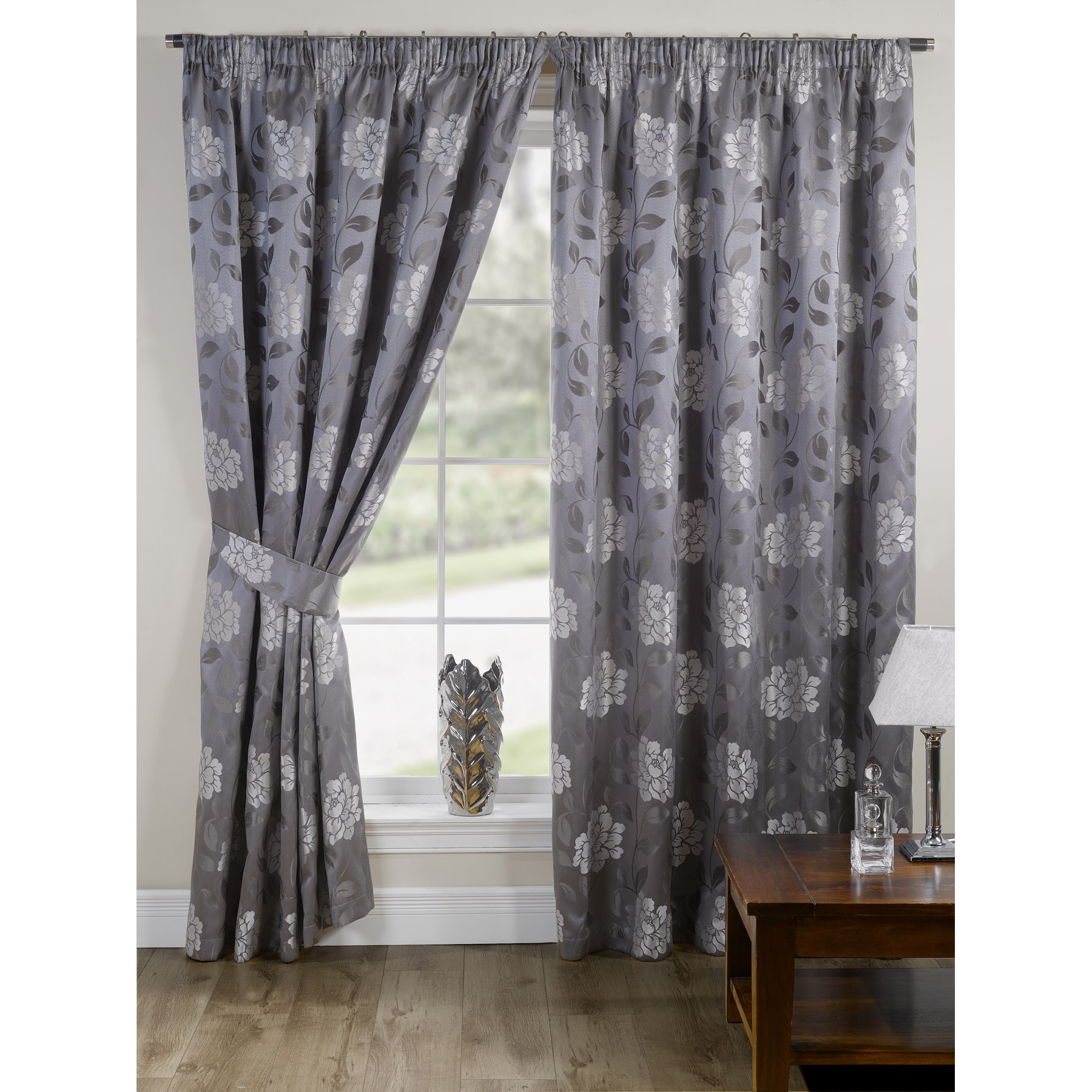 Frilled Kitchen Curtains Lined: Davina Fully Lined Ready Made Floral Patterned Curtains