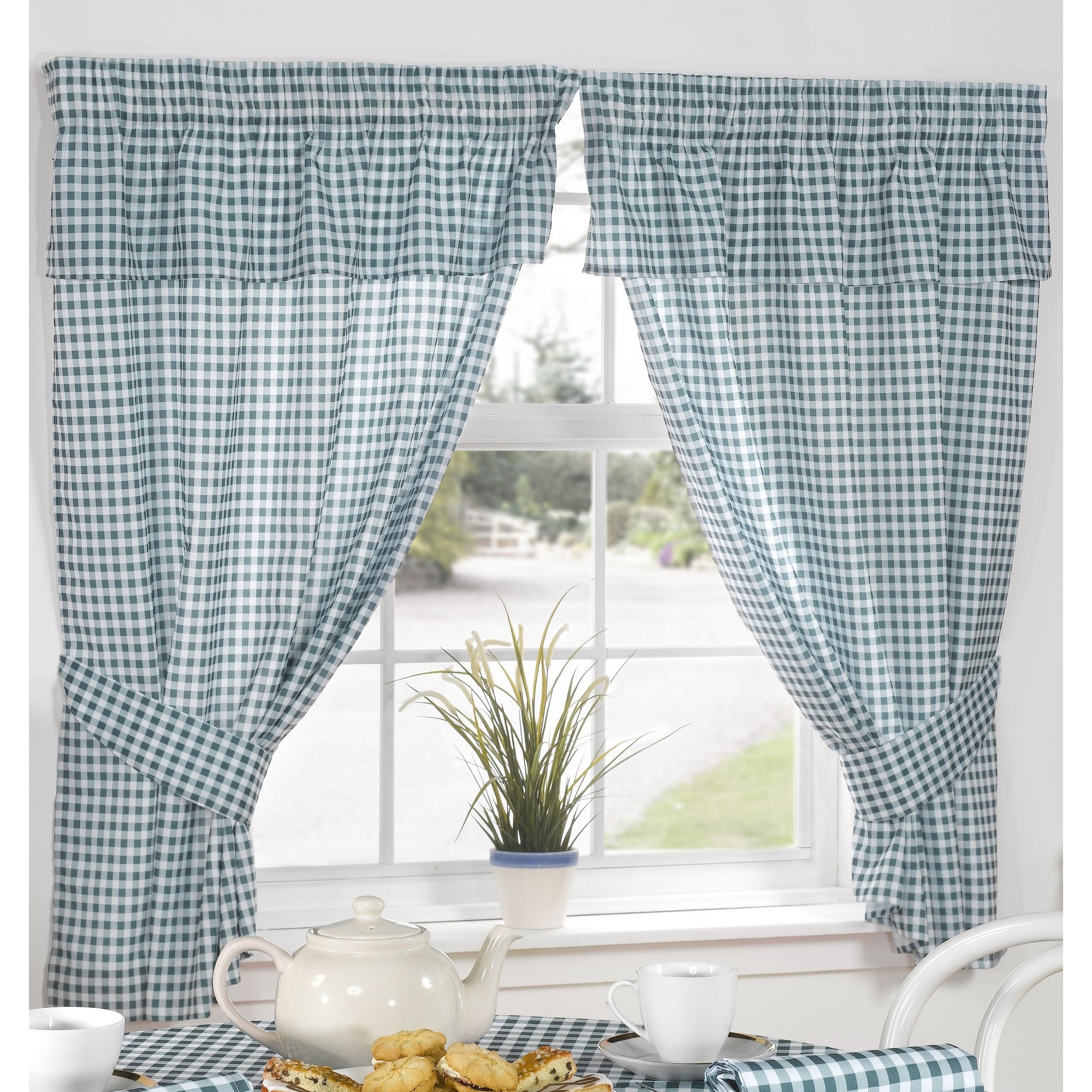 Gingham Curtains Red And White Gingham Curtains Kitchen: Molly Gingham Check Pattern Ready Made Kitchen Curtains