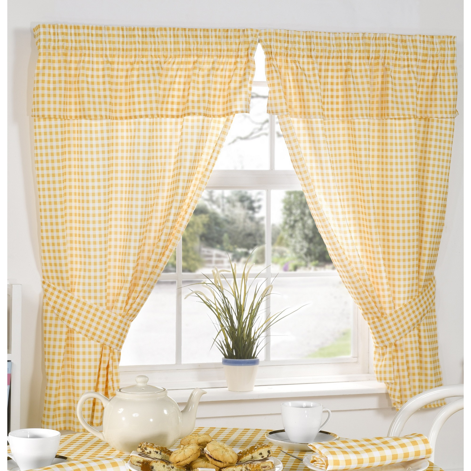 Molly Gingham Check Pattern Ready Made Kitchen Curtains