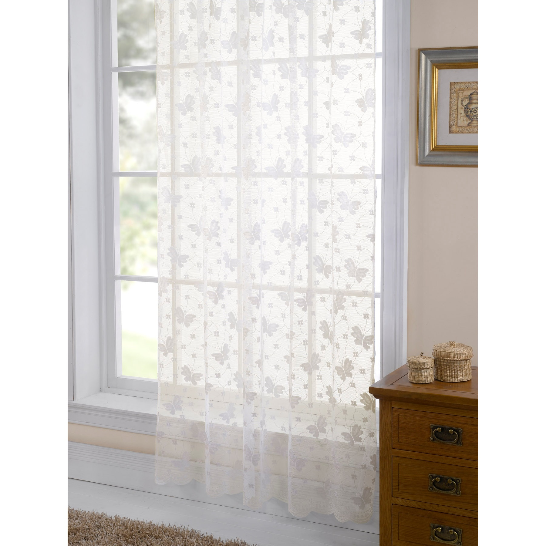 Jardin Butterfly Patterned Lace Living Room Panel Window Curtains Sheers Ebay