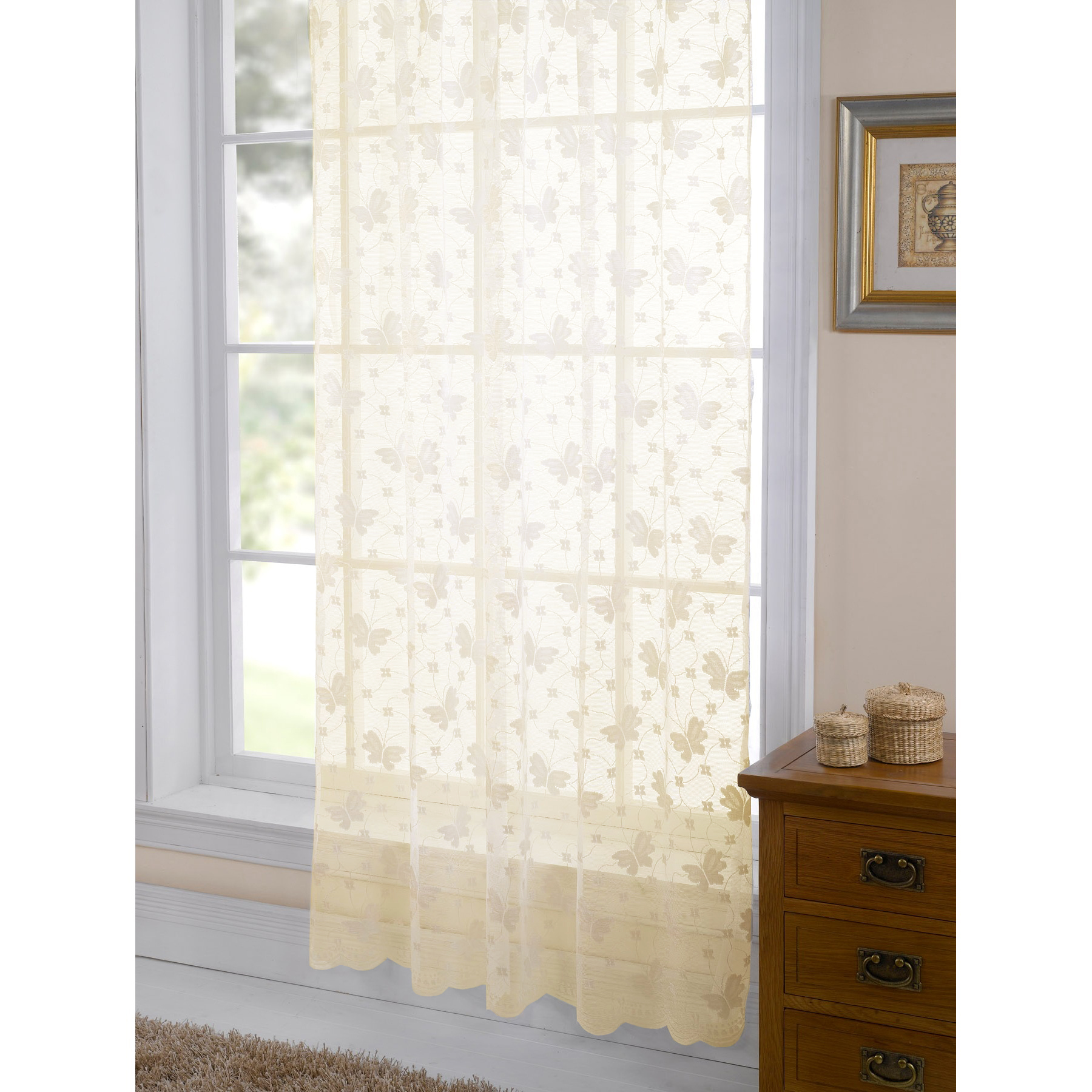 Jardin butterfly patterned lace living room panel window for Patterned sheer curtain panels
