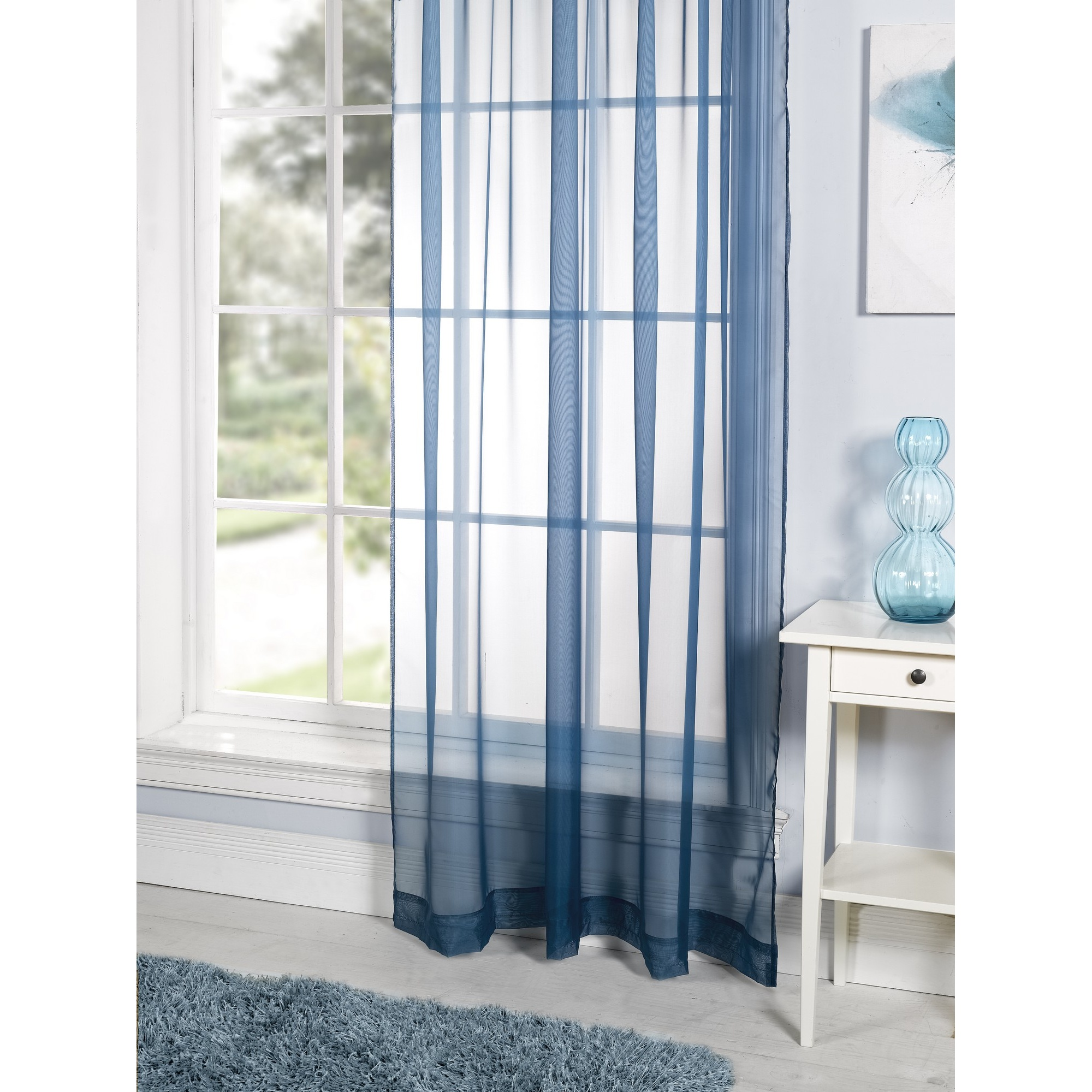 Lucy Plain Coloured Ready Made Voile Living Room Panel Curtains Ebay