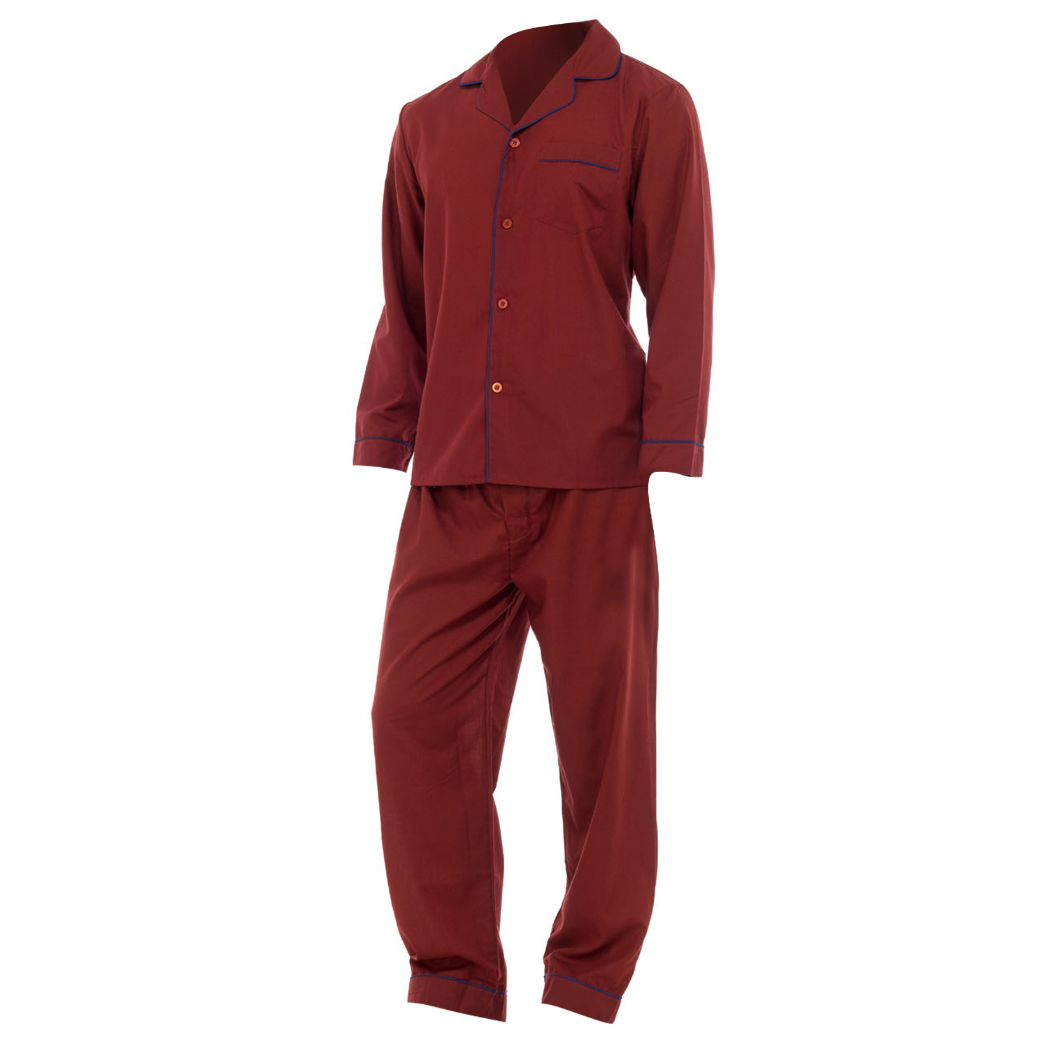 Mens Plain Long Sleeve Shirt & Trouser Bottoms Nightwear ...