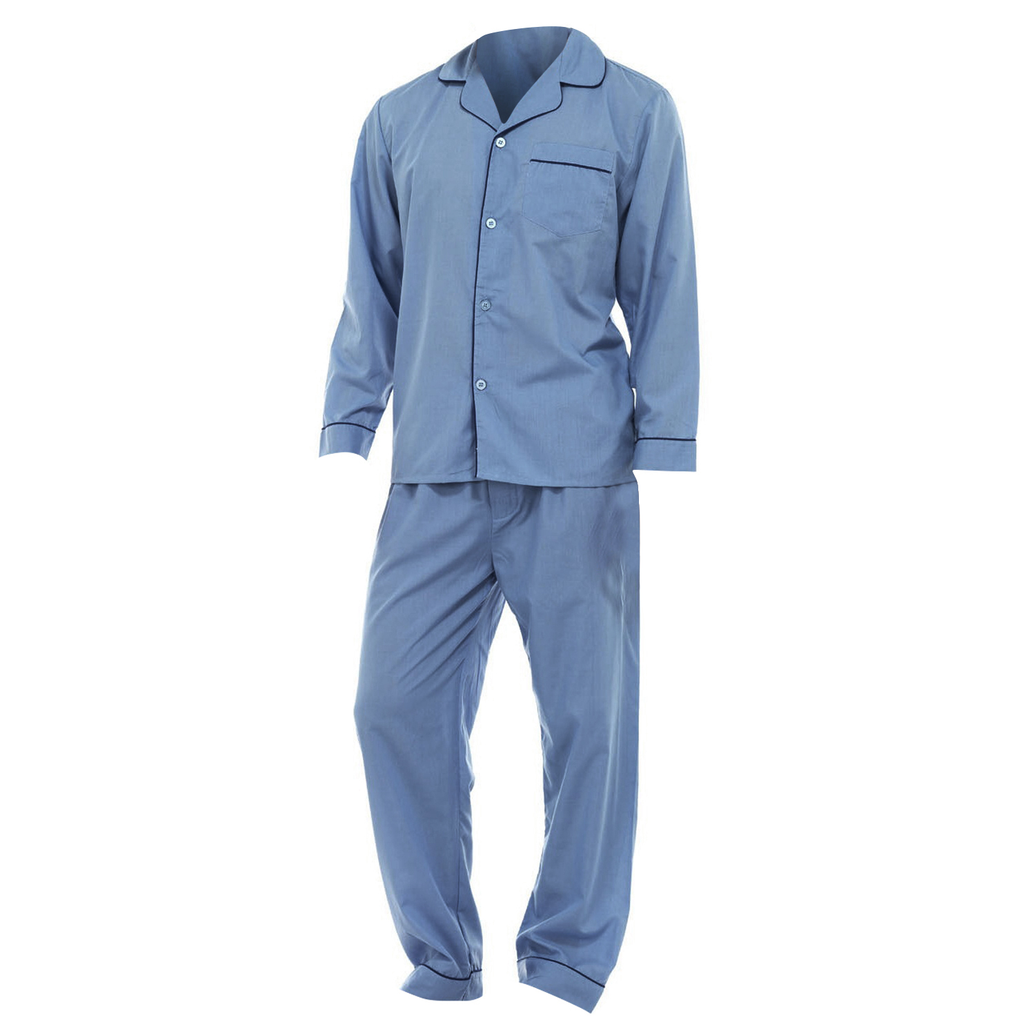 John Ashford two piece men's pajama set features long sleeve top and long pants Long-sleeved top features button-front entry with chest pocket Pants feature snap front adjustable waistband Cuffed sleeve Button up top Available in royal blue, navy blue, light blue, and red color options Click here to view our men's sizing guide.