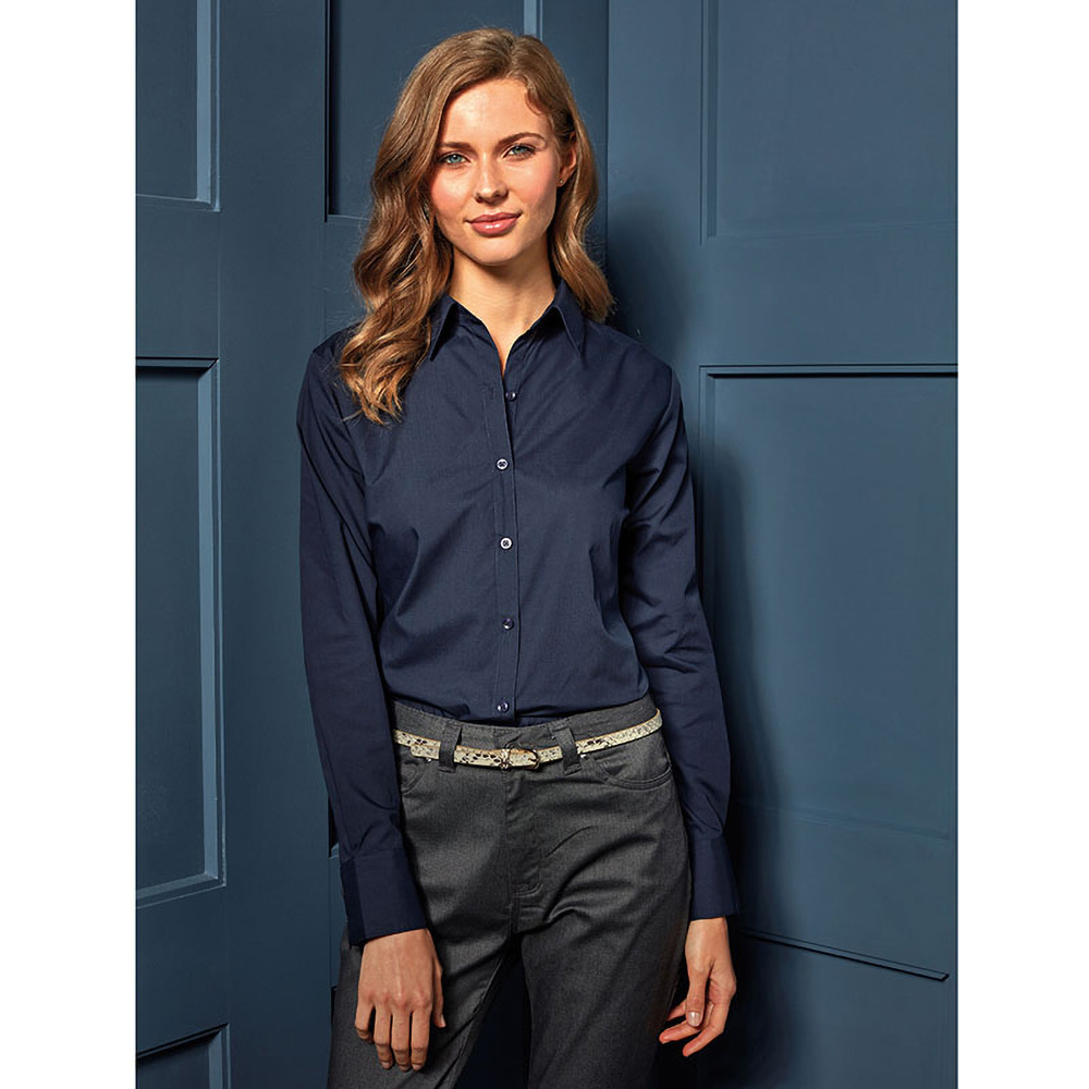 Work Shirts. Cavender's work shirts for women effortlessly combine quality, style, and comfort. Shop ladies work shirts in a variety of styles that include solids and plaids in flame resistant materials. From pastel twills to denim and khaki, we stock the women's shirts for work she wants and needs.