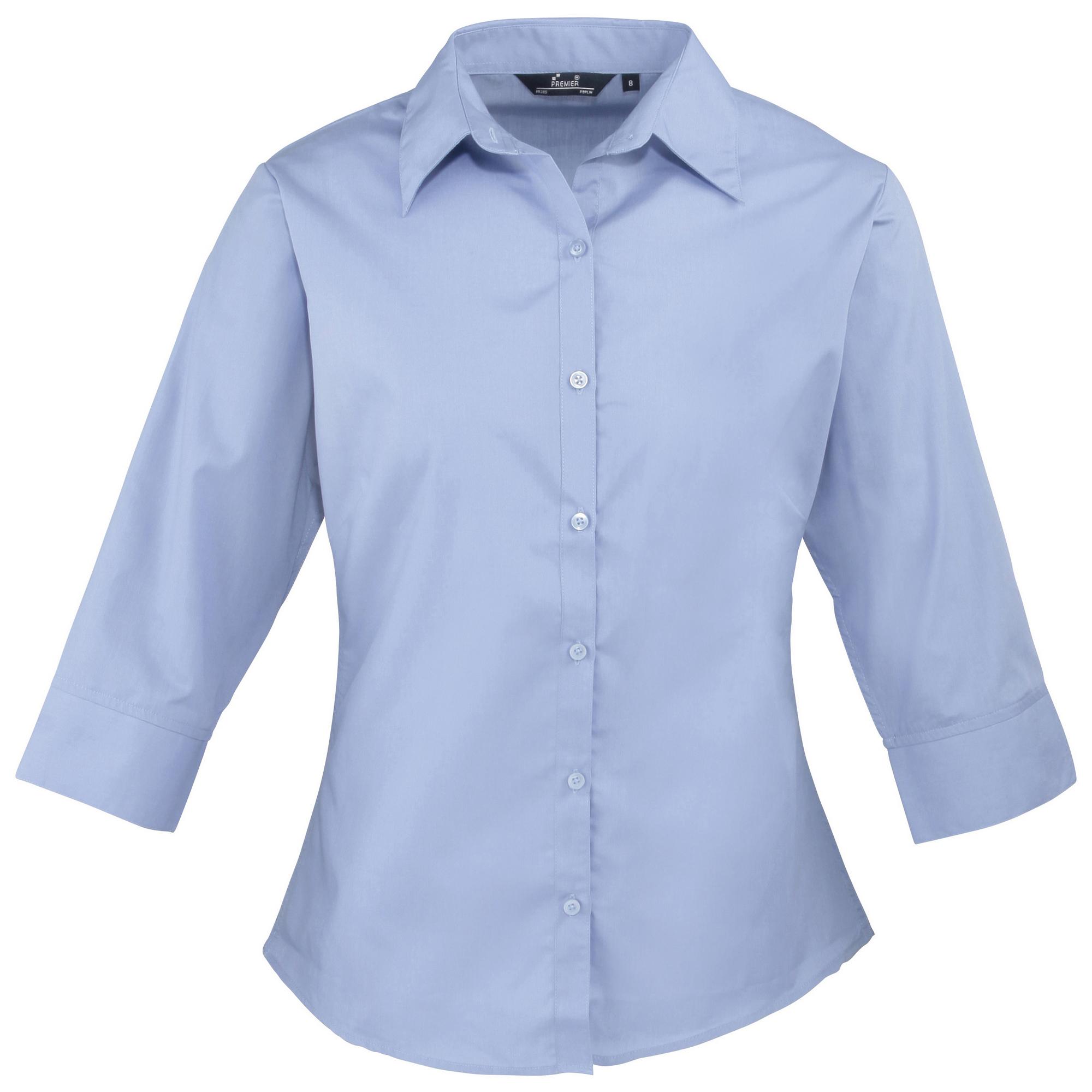Womens/Ladies Premier 3/4 Sleeve Poplin Blouse/Plain Work/Office ...