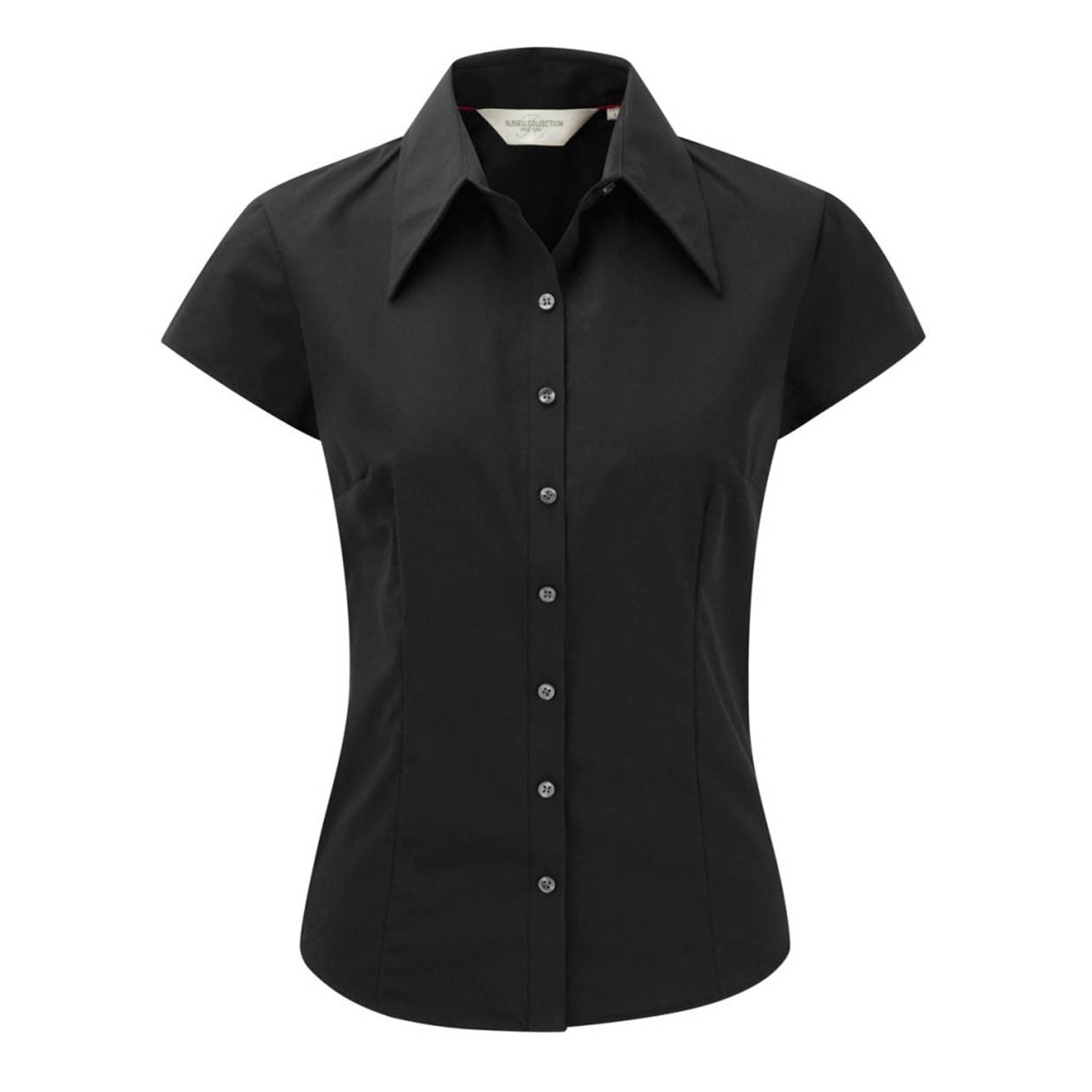 Russell collection womens ladies short cap sleeve tencel for Fitted short sleeve dress shirts