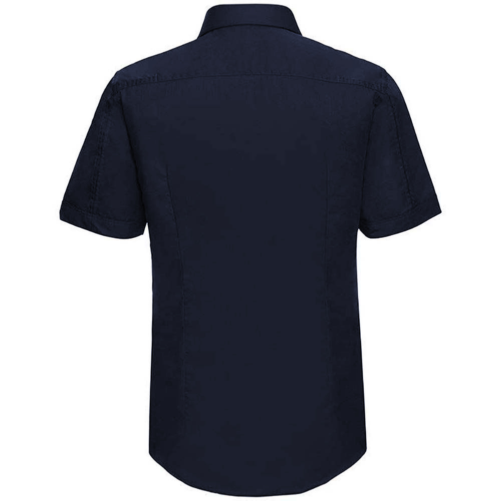 Russell collection mens short sleeve tencel easy care for Fitted short sleeve dress shirts