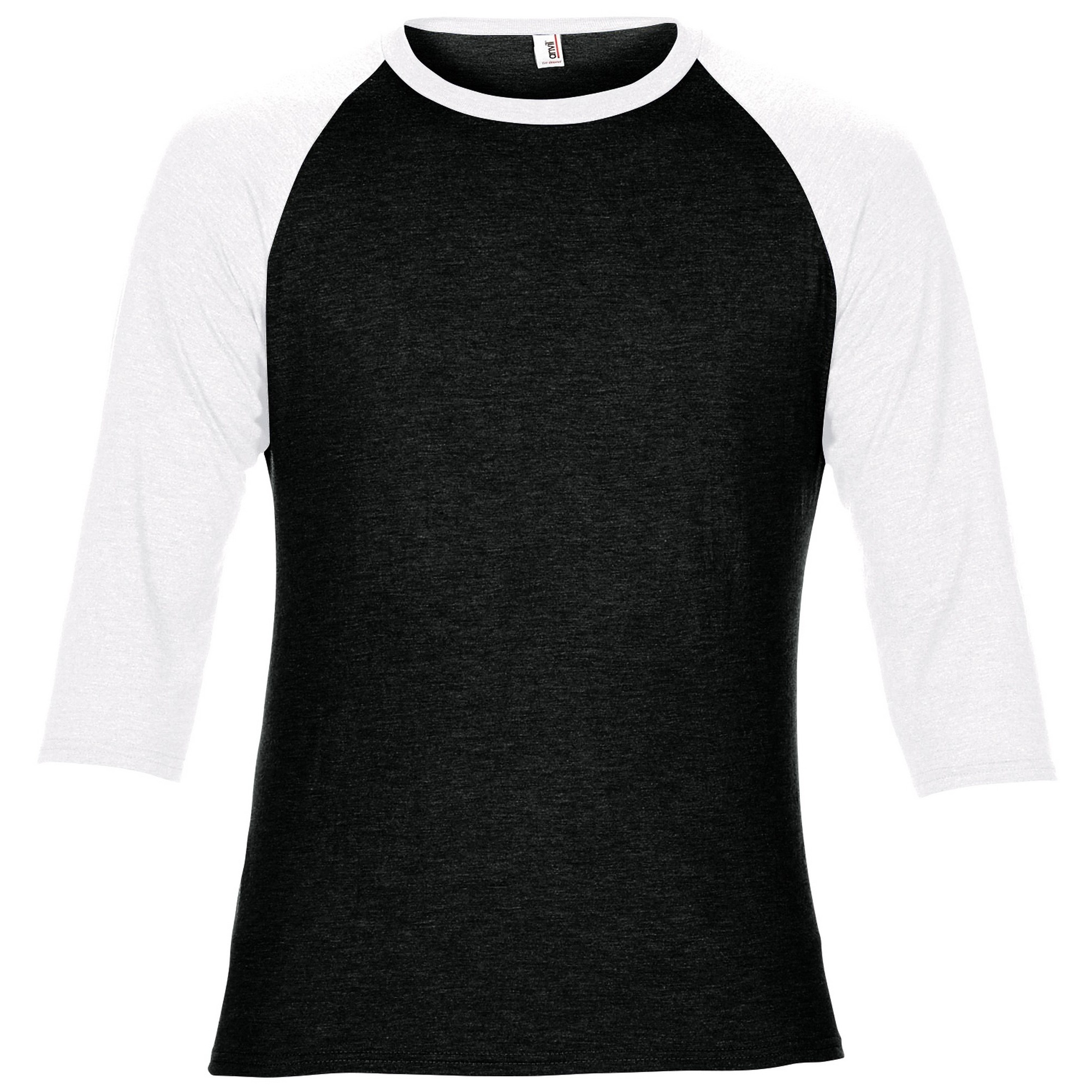 Anvil unisex two tone tri blend 3 4 sleeve raglan t shirt for Where are anvil shirts made