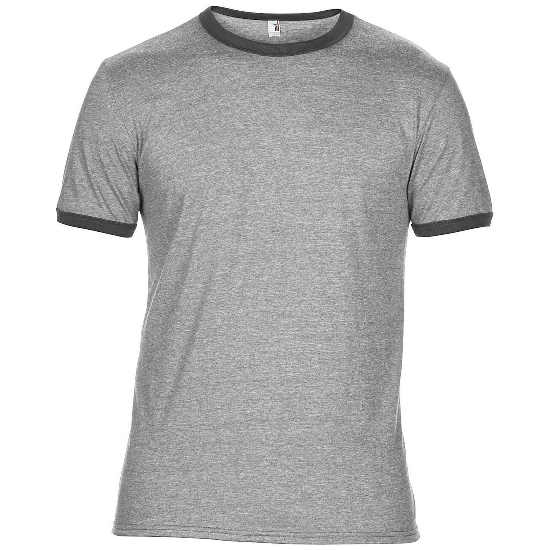 Anvil mens plain lightweight ringer t shirt ebay for Where are anvil shirts made