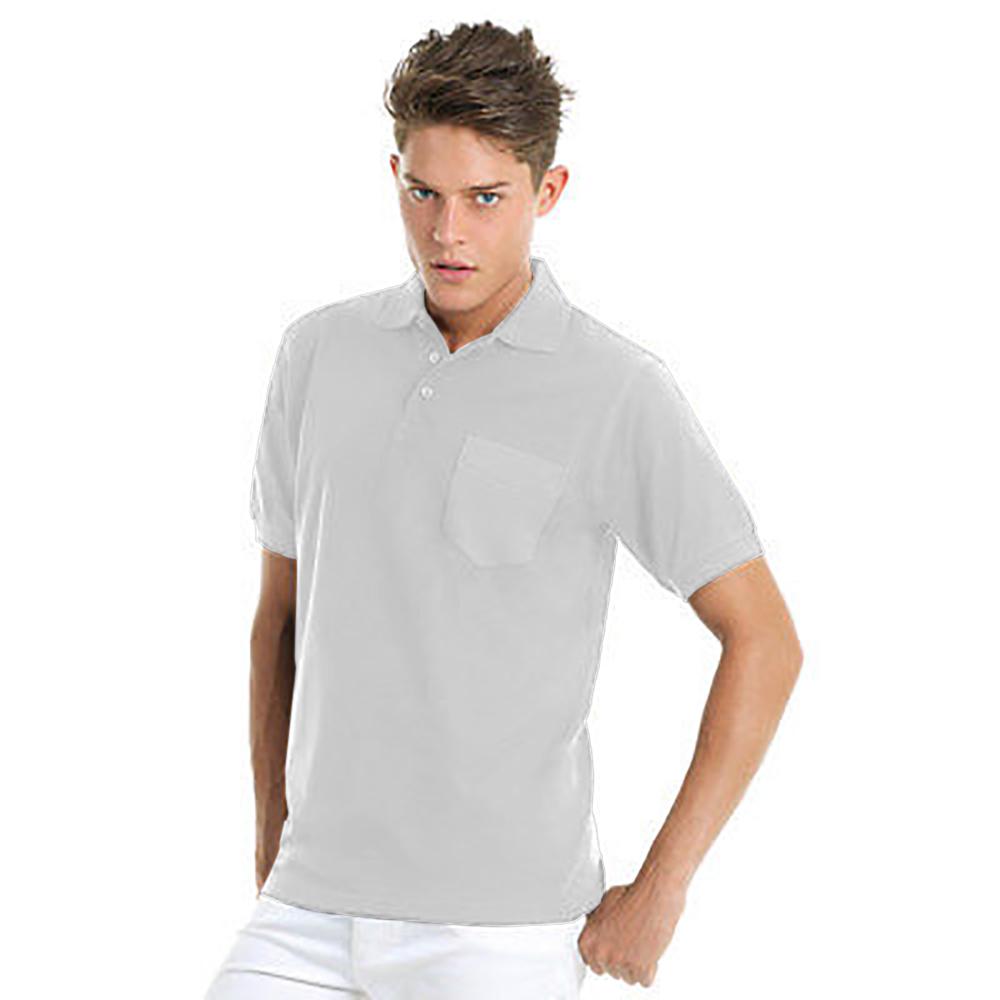 B c mens safran plain short sleeve polo shirt with pocket for Short sleeve polo shirt with pocket