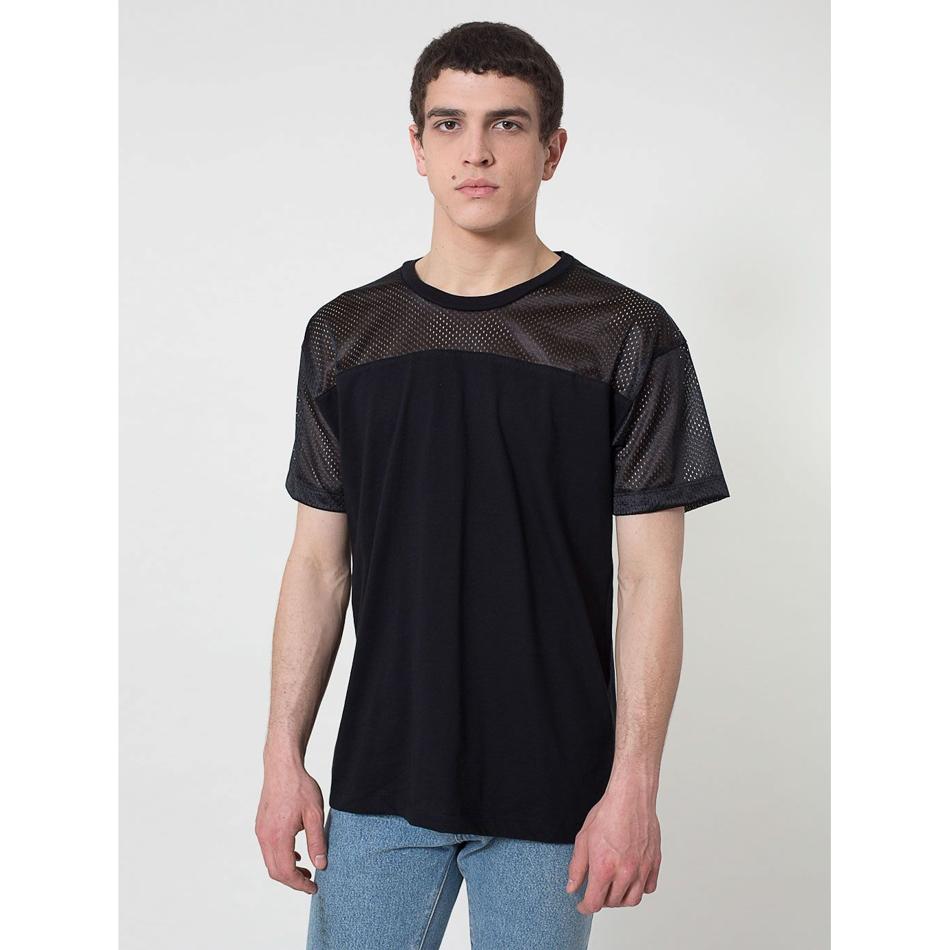 American apparel mens short sleeve contrast mesh panel t for Men s fashion short sleeve shirts