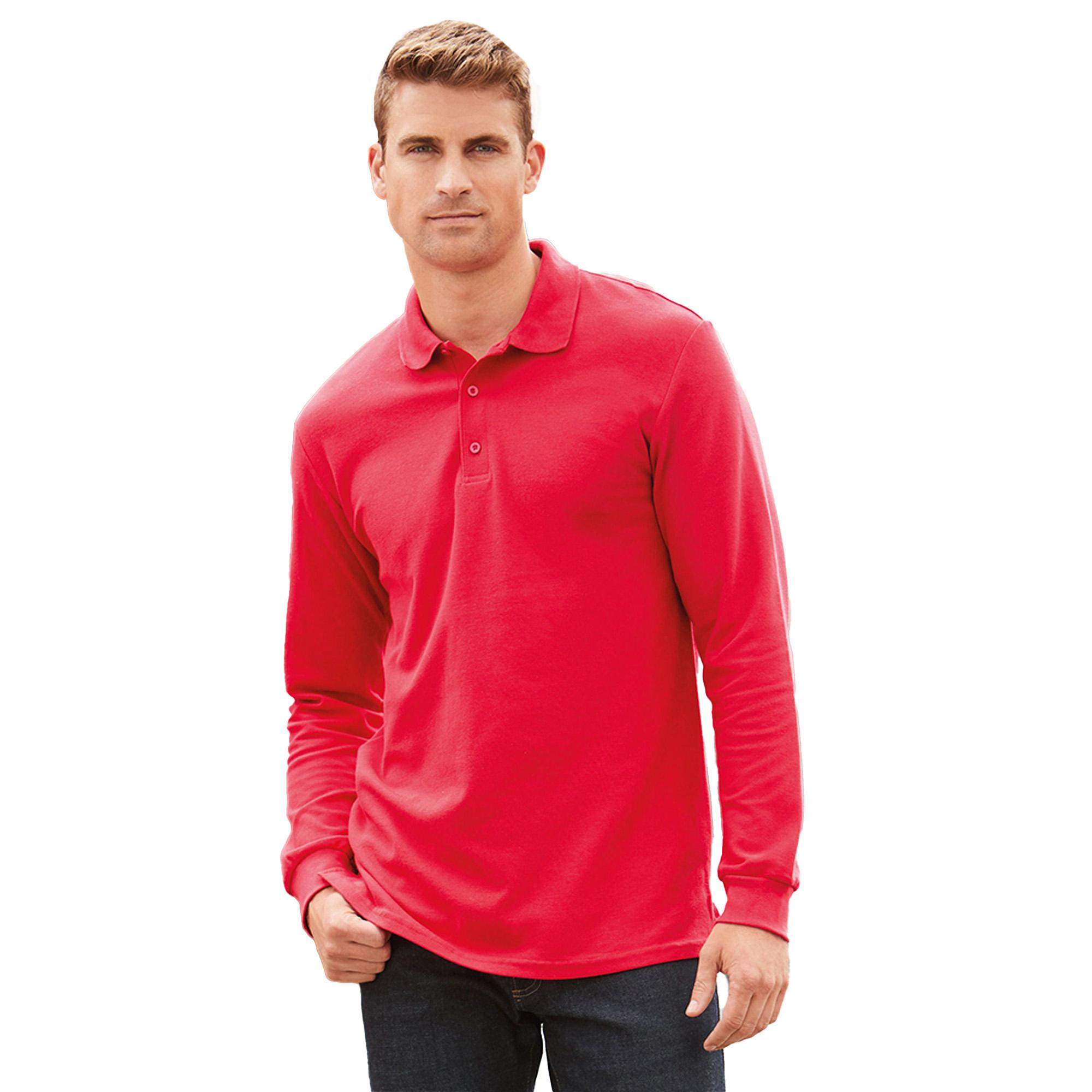 Gildan mens long sleeve premium cotton double pique polo for Polo shirts long sleeve men