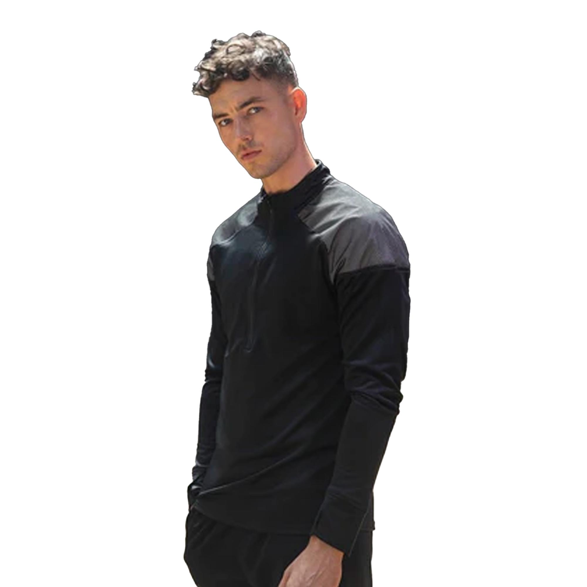 Tombo-Camiseta-reflectante-de-manga-larga-con-cremallera-1-4-para-hombre