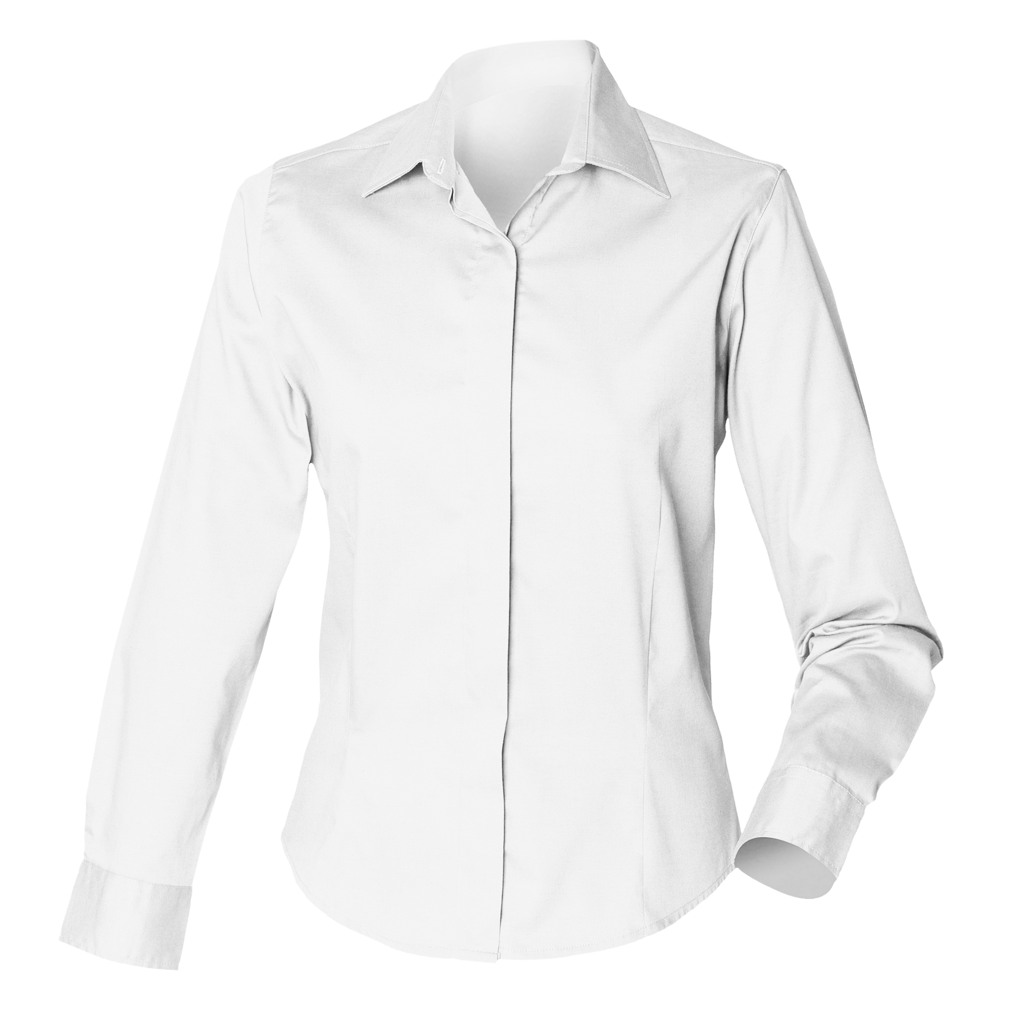 Henbury Womens Ladies Long Sleeve Oxford Fitted Button