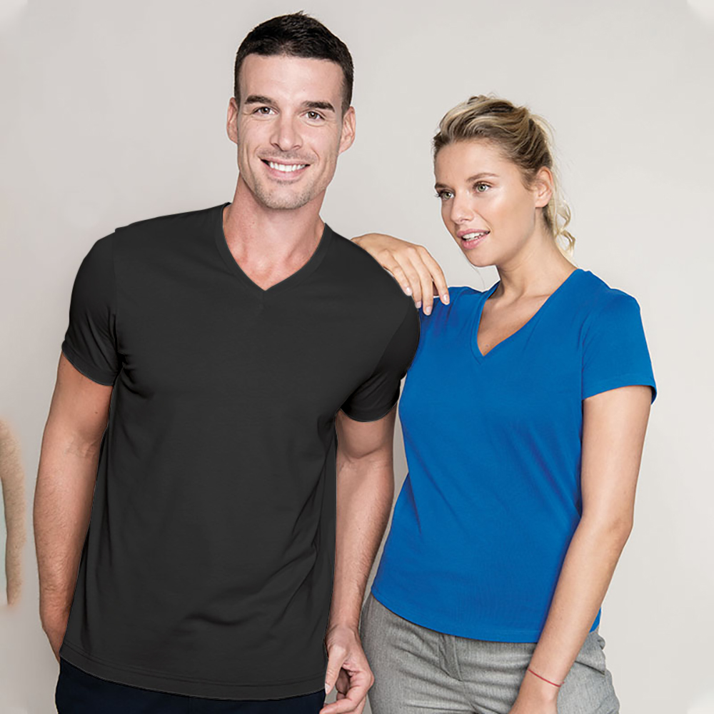 Kariban mens short sleeve v neck slim fit t shirt ebay for Mens slim fit short sleeve shirt