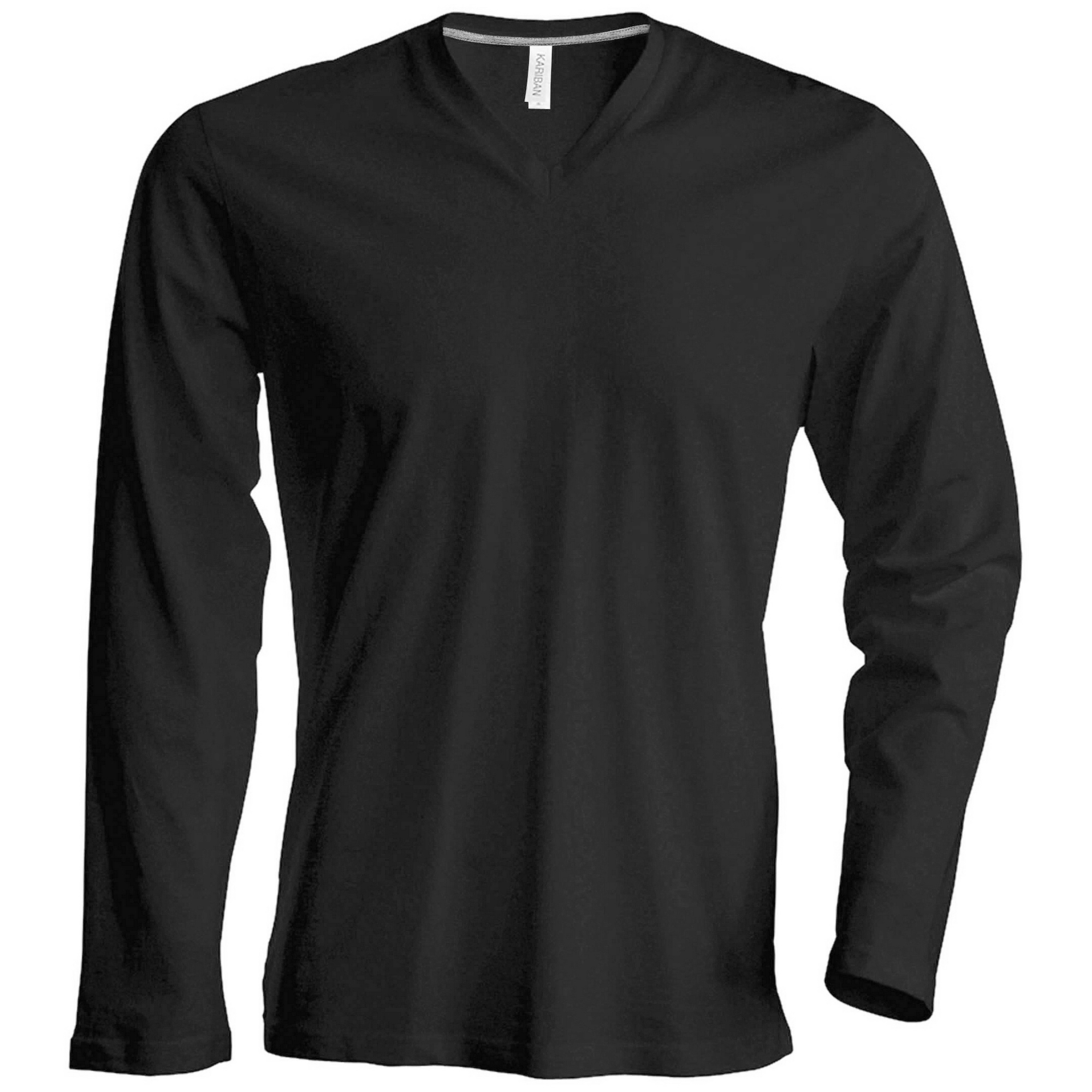 kariban mens slim fit long sleeve v neck t shirt. Black Bedroom Furniture Sets. Home Design Ideas