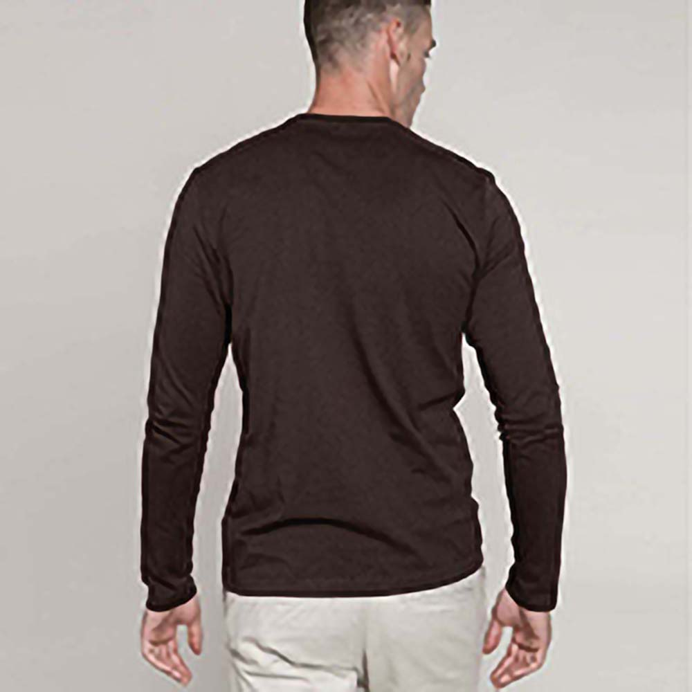 Kariban mens slim fit long sleeve crew neck t shirt ebay for Mens slim fit long sleeve t shirts