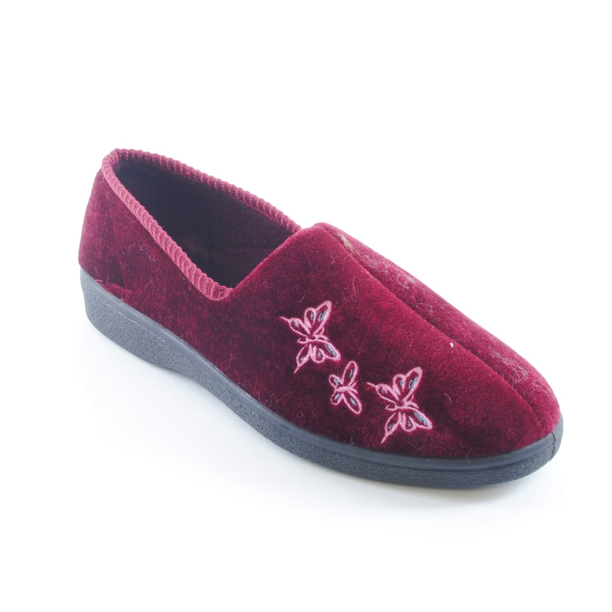Womens/Ladies Embroidered Butterfly Indoor House Slippers ...