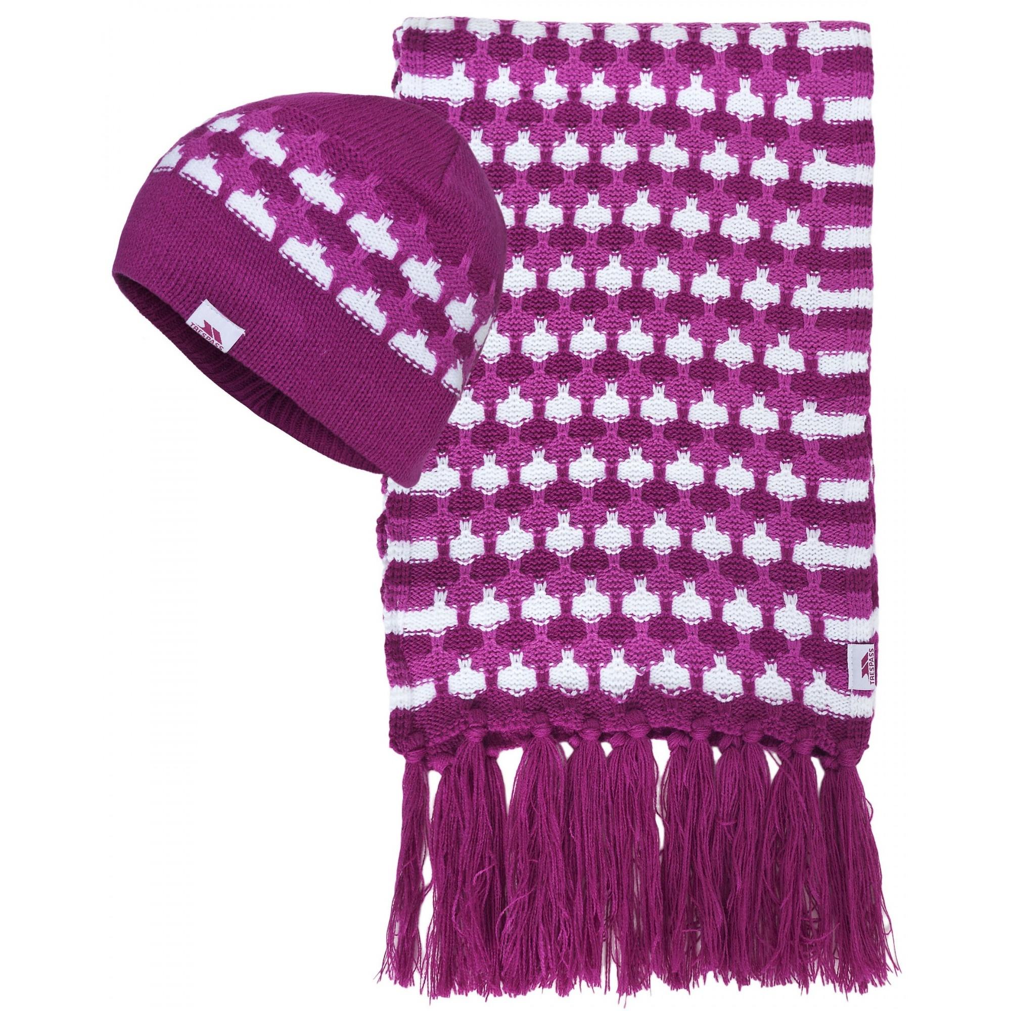trespass womens bunty winter hat and scarf set ebay