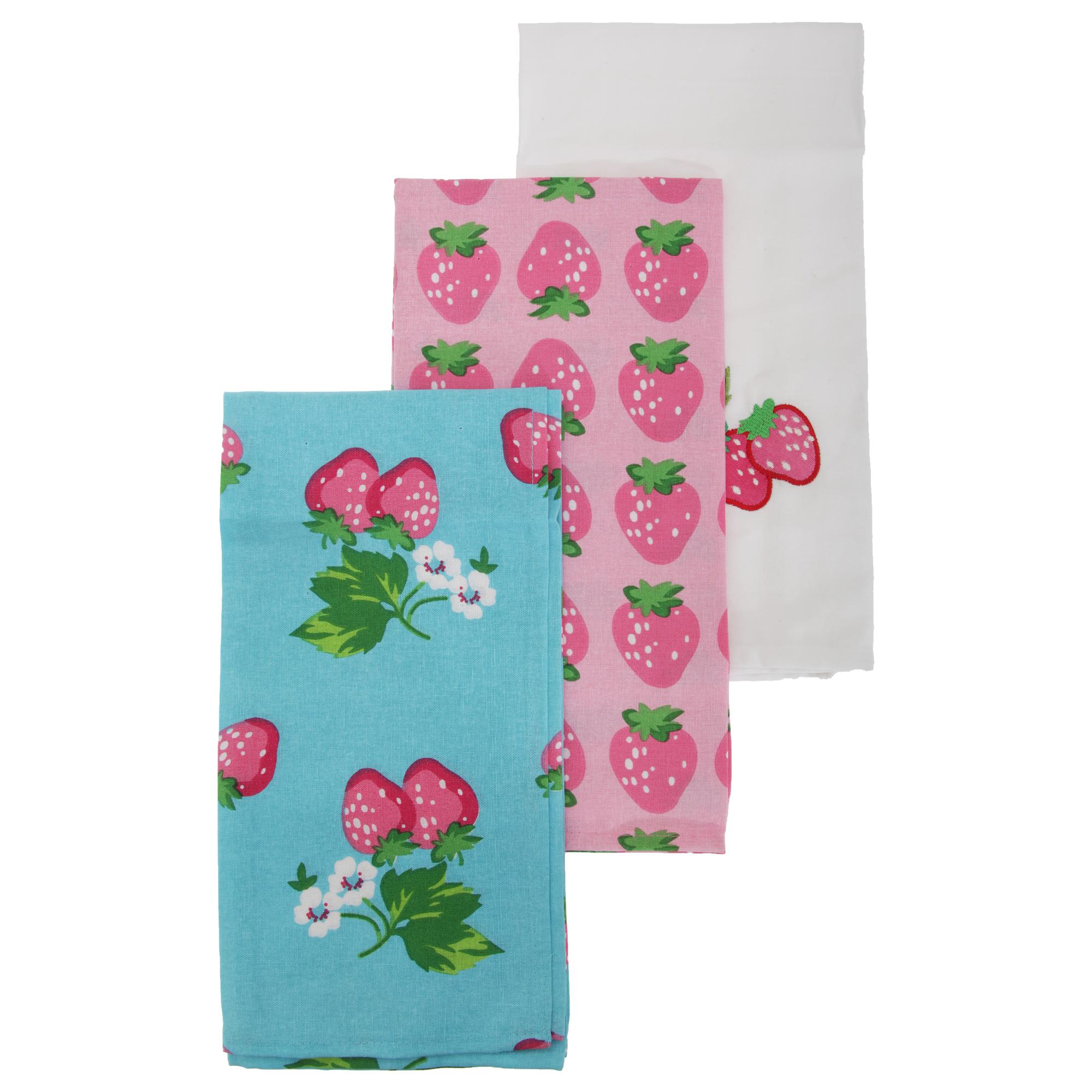 Quality Tea Towels Uk: Strawberry Pattern Extra Large Tea Towel/Dish Towel Set