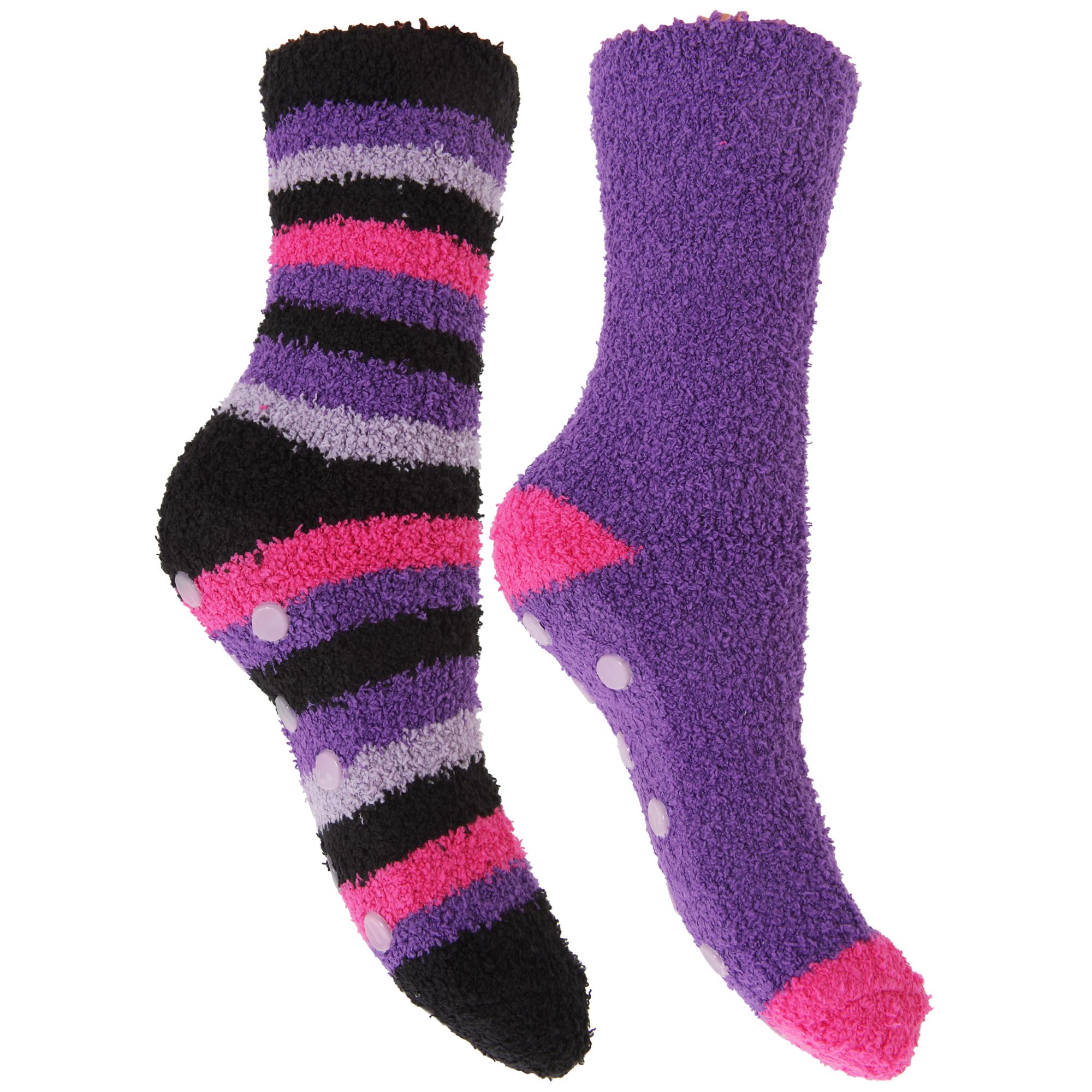 Ladies/Womens Cosy Winter Slipper Socks With Grip (2 Pairs ...