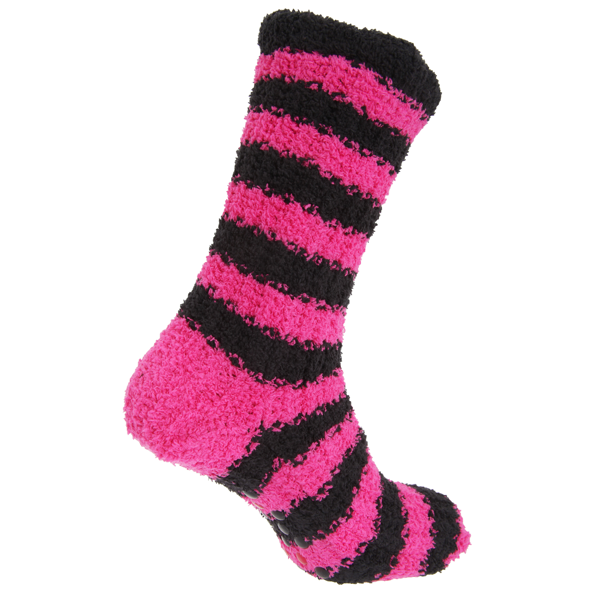 Womens/Ladies Striped Supersoft Fleece Slipper Socks With Grippers | EBay