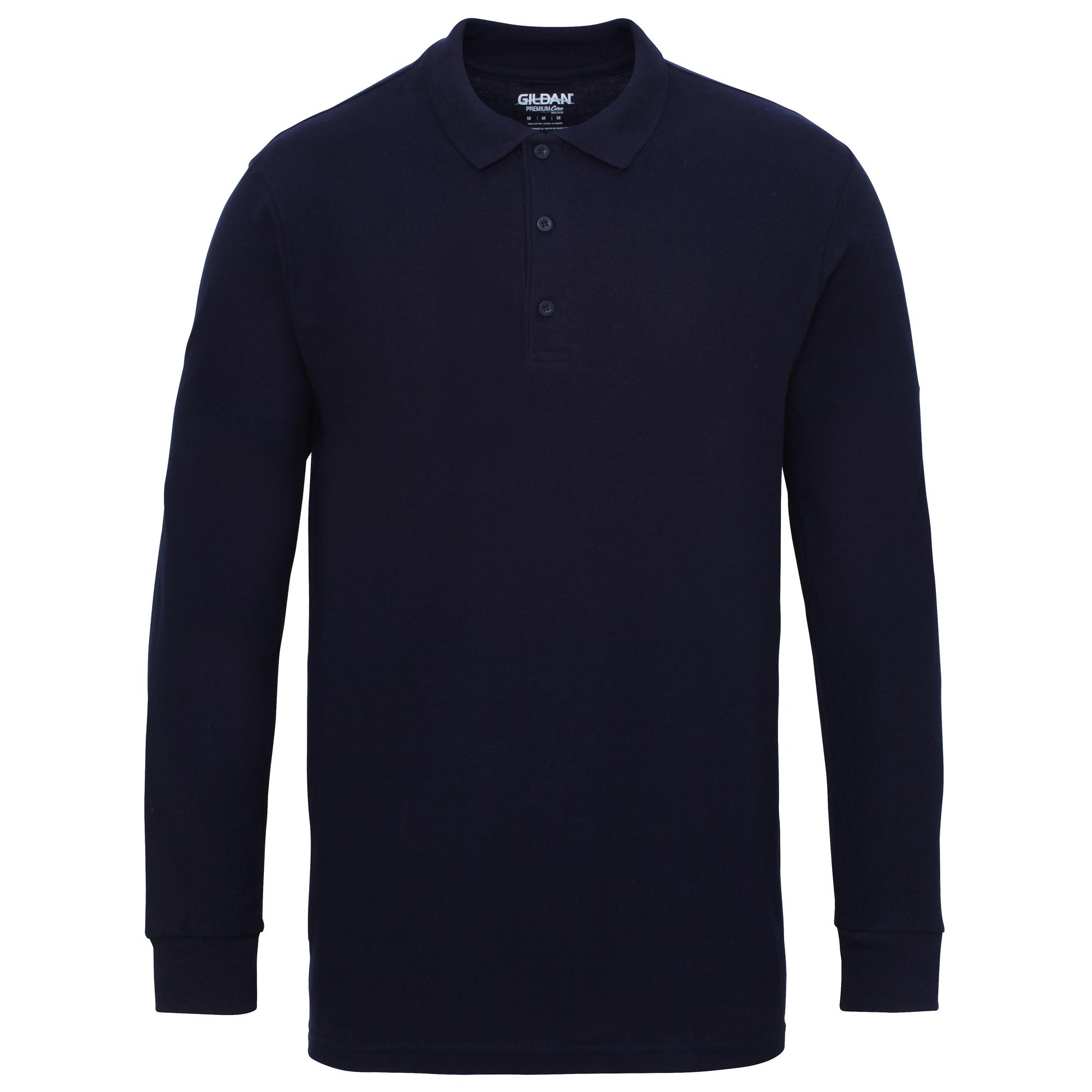 Gildan Mens Long Sleeve Double Pique Cotton Polo Shirt | eBay