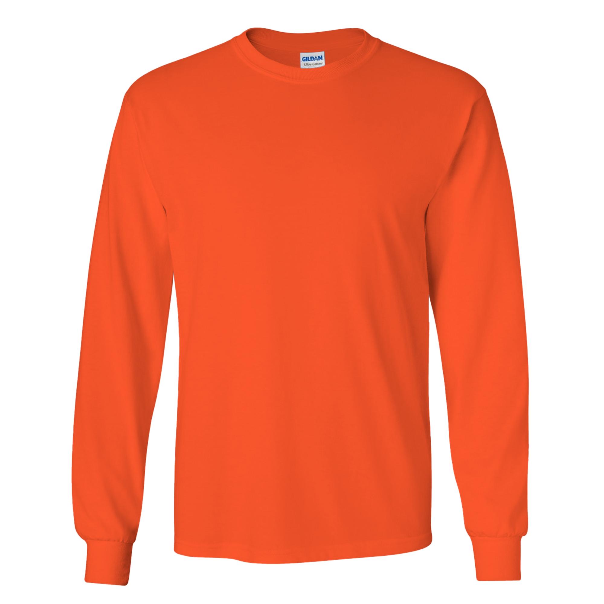 Gildan Mens Plain Crew Neck Ultra Cotton Long Sleeve T-Shirt ...