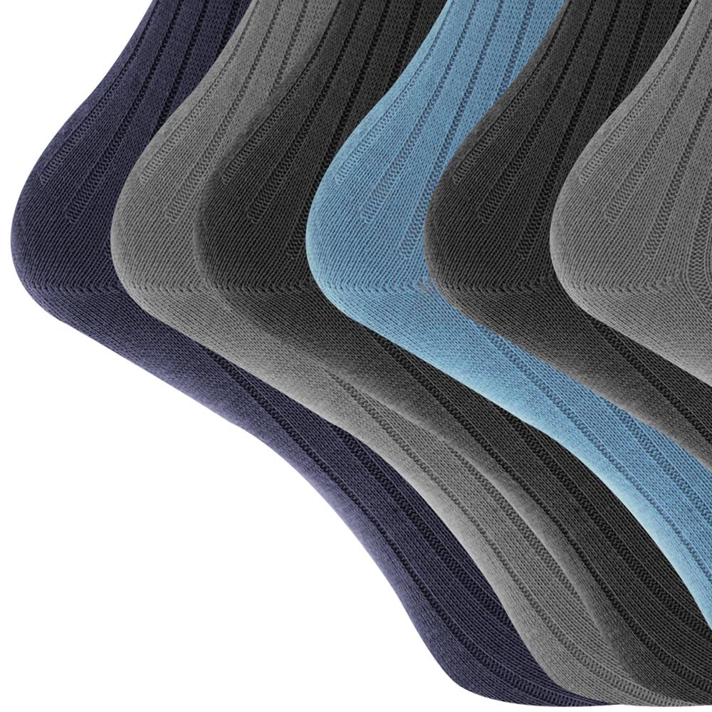 Mens 100% algodón calcetines clásicos (paquete de 6)