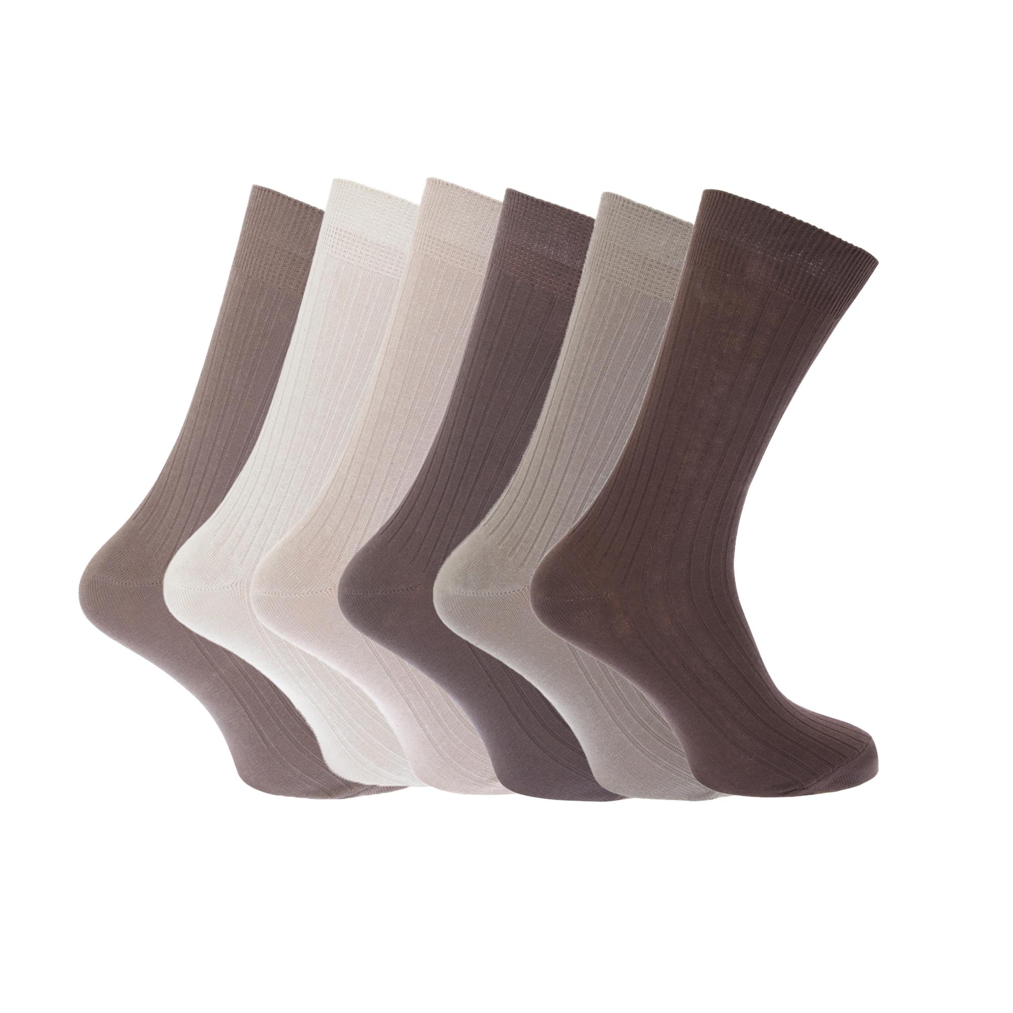 Floso Calcetines para hombre 100% Algodón Acanalado (paquete de 6)