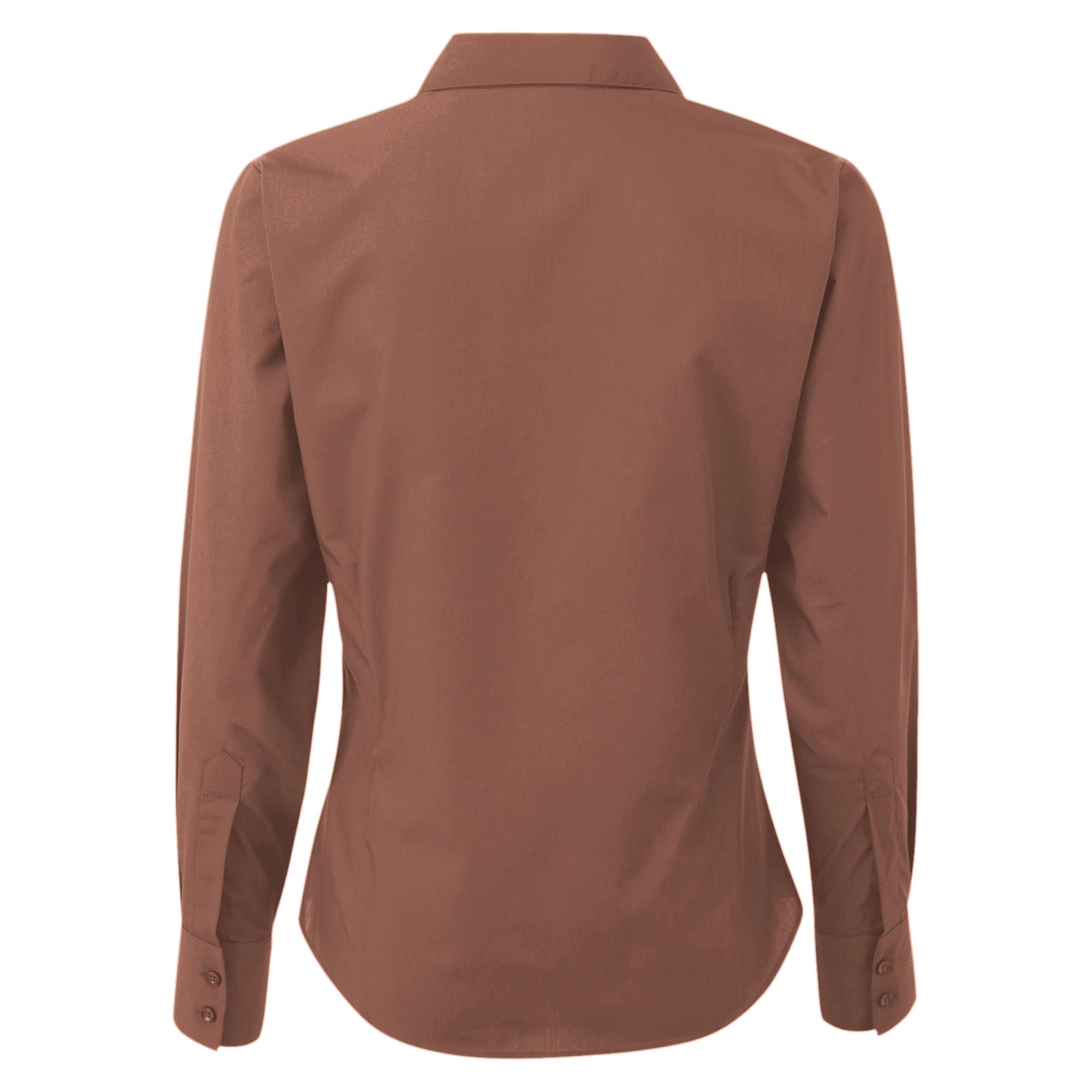 Premier Womens/Ladies Poplin Long Sleeve Blouse/Plain Work/Office ...